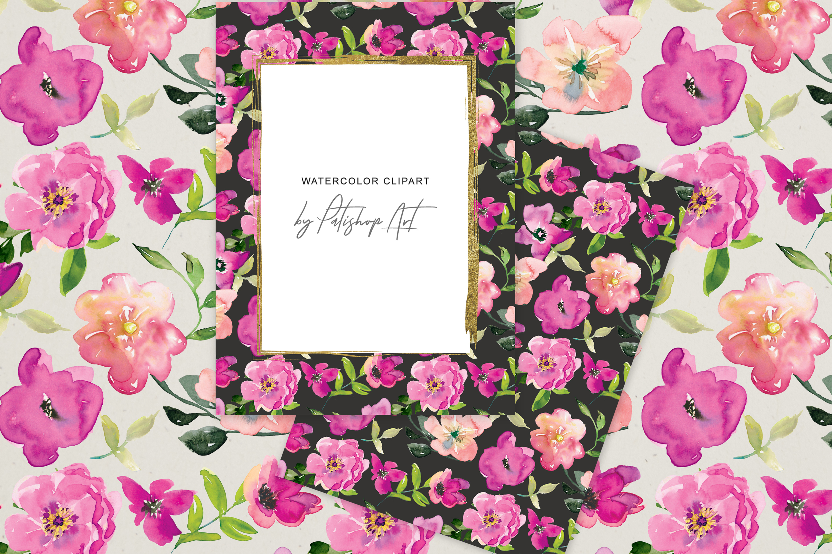 Watercolor Magenta and Blush Floral Bouquet Clipart example image 8