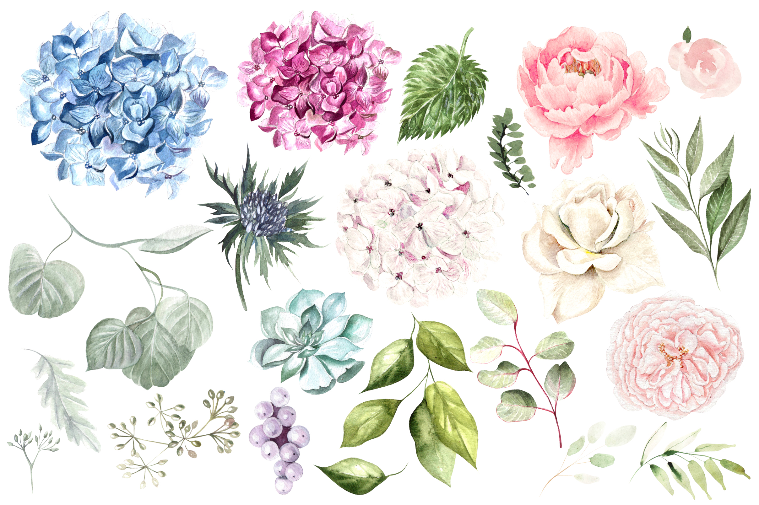 Hand Drawn Watercolor Flowers&Wreath example image 4
