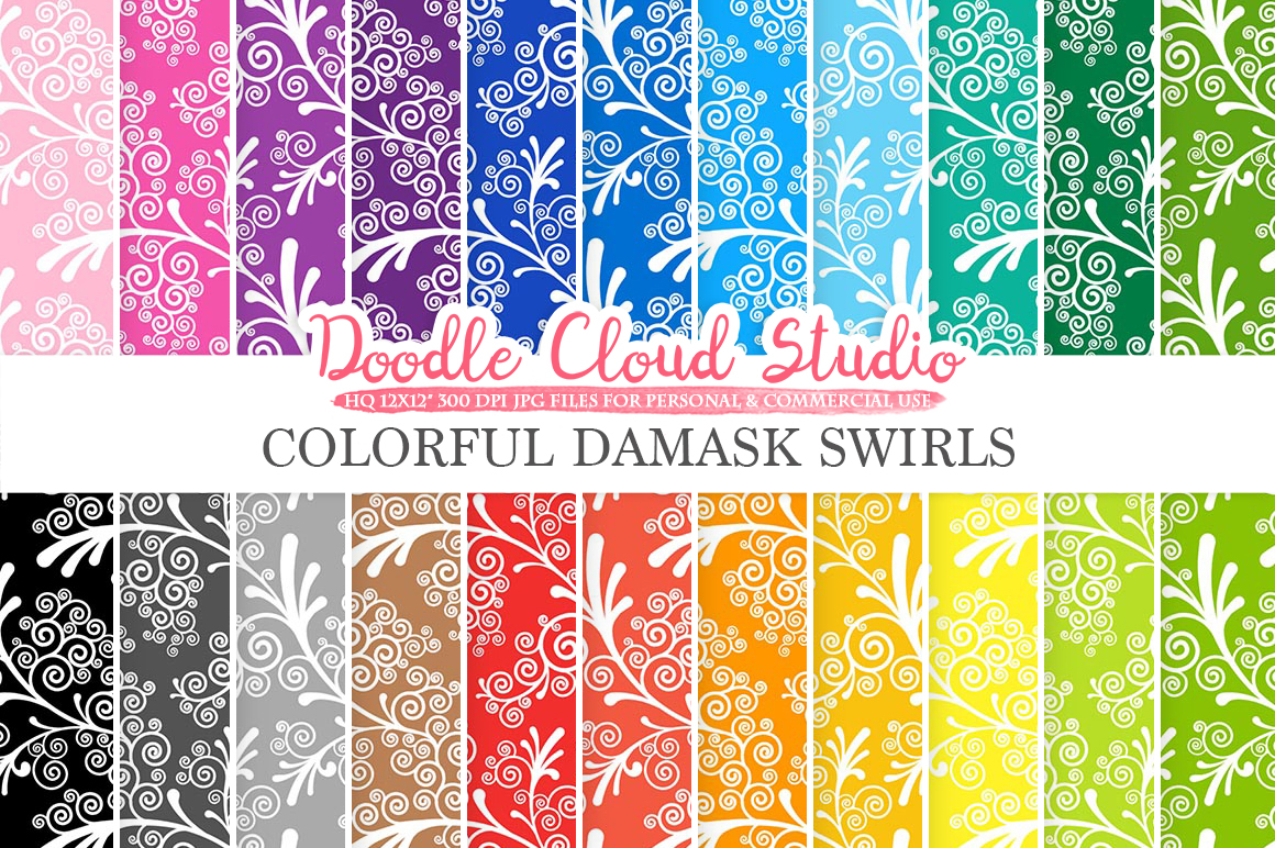 Colorful Damask Swirls digital paper, Swirls pattern, Digital Swirls, Bright Colors, Instant Download for Personal & Commercial Use example image 1