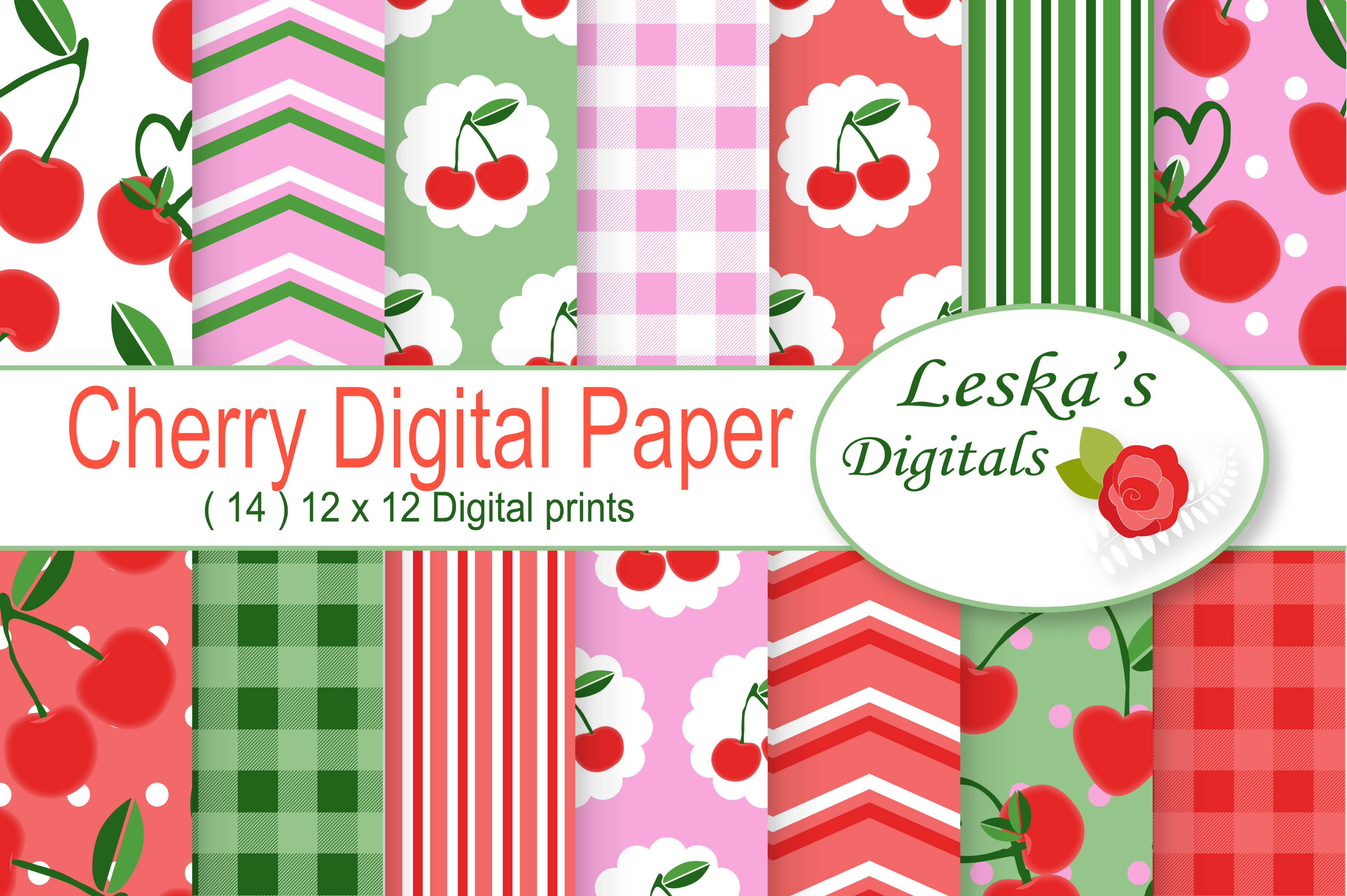 Cherry Digital Scrapbook Paper Pack example image 1