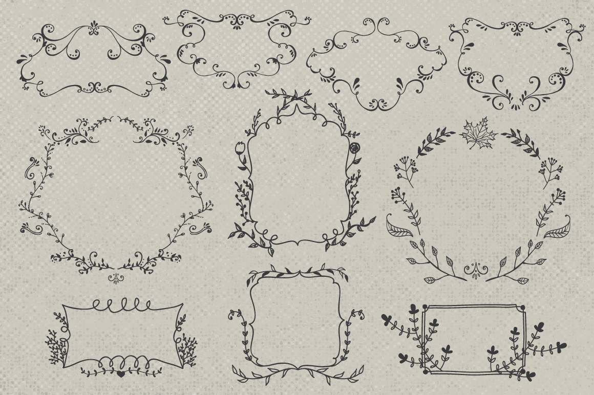 Hand drawn wreaths and frames example image 4