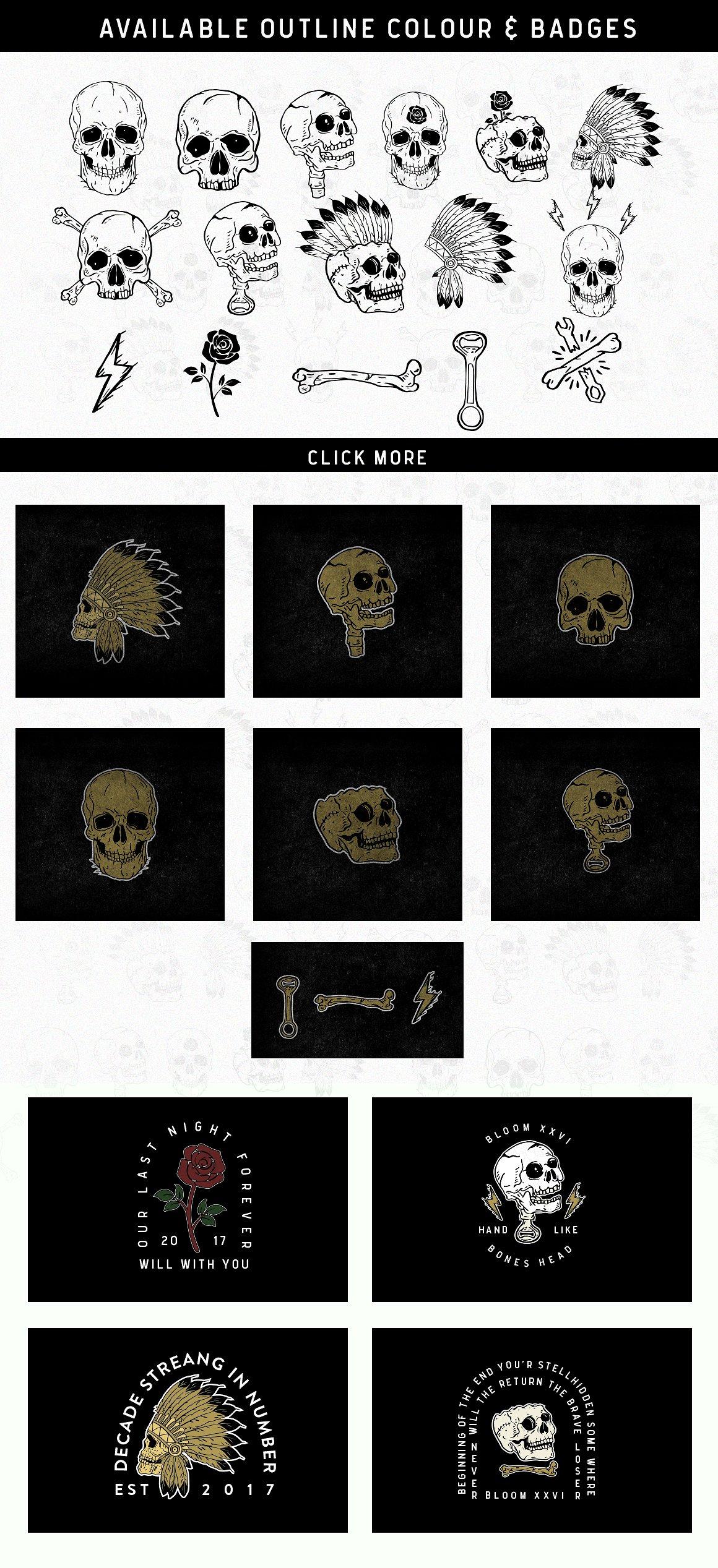 Nuvanticia Typeface + free bonus 43 Vector Skull example image 9