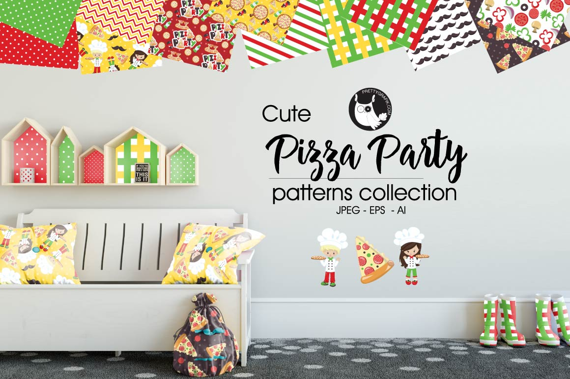PIZZA-PARTY, digital papers example image 1