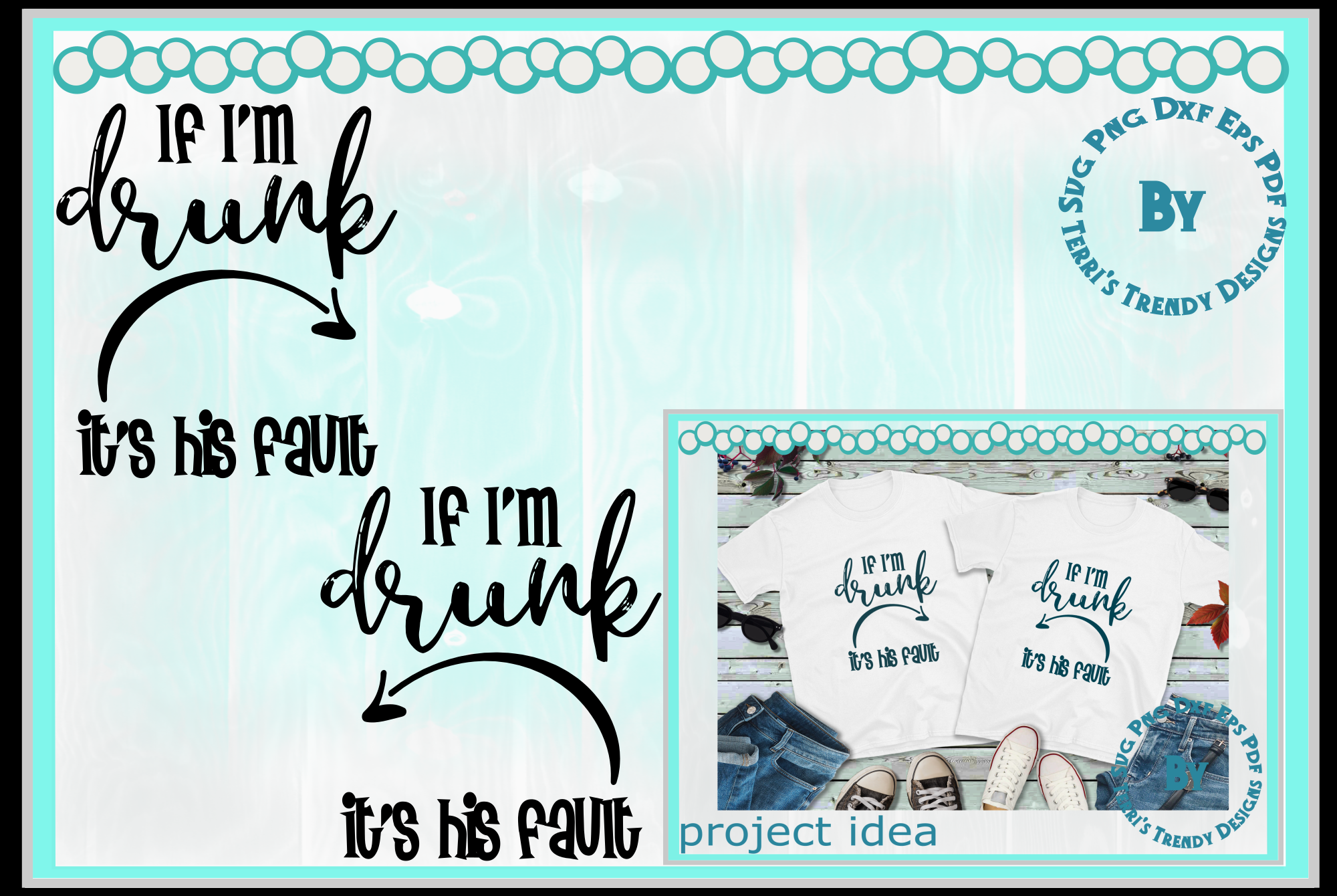 Funny bundle svg If I'm drunk His Her fault Bride Groom crew example image 2