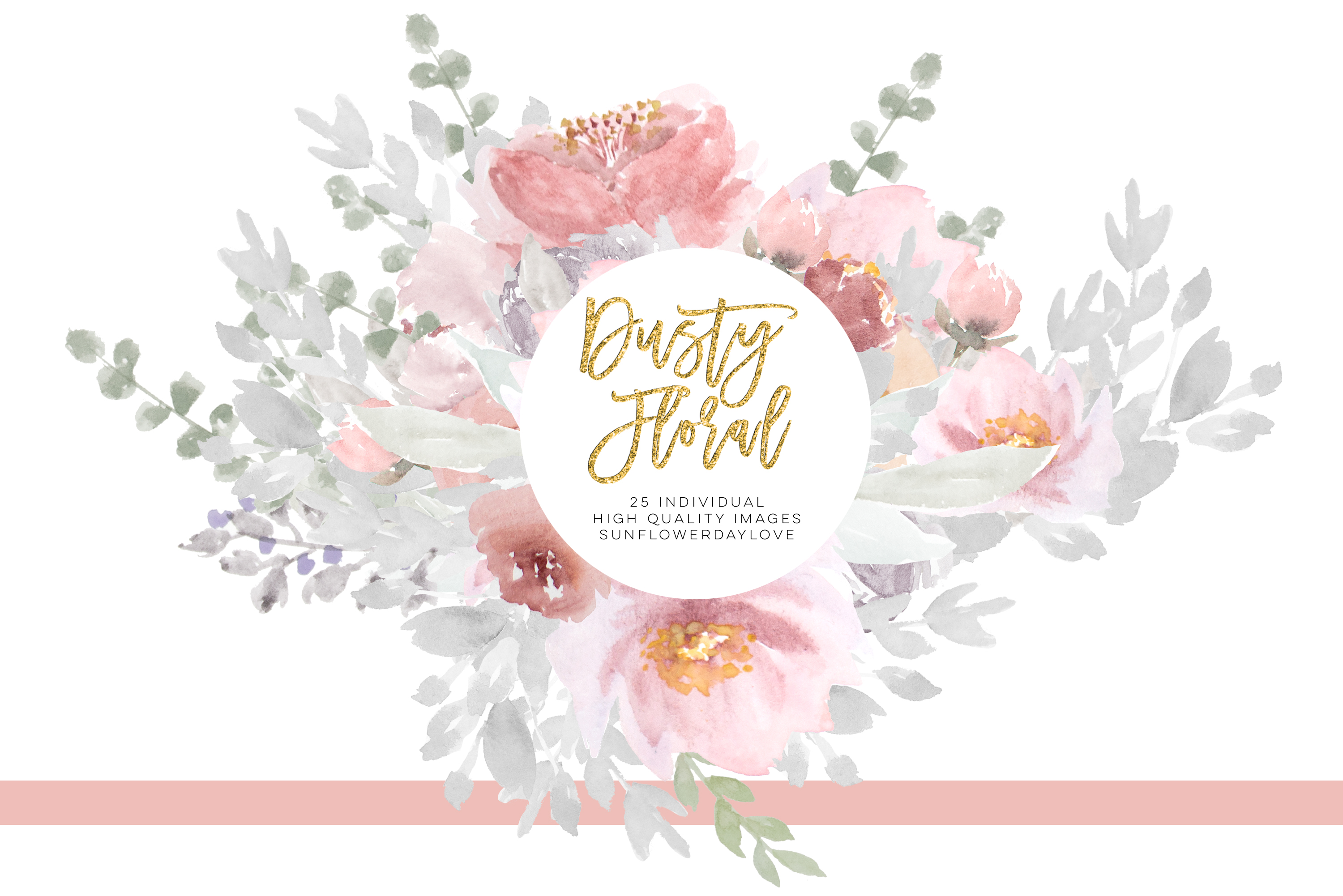 Dusty rose floral clipart, Wedding Invitation Clip Art example image 4