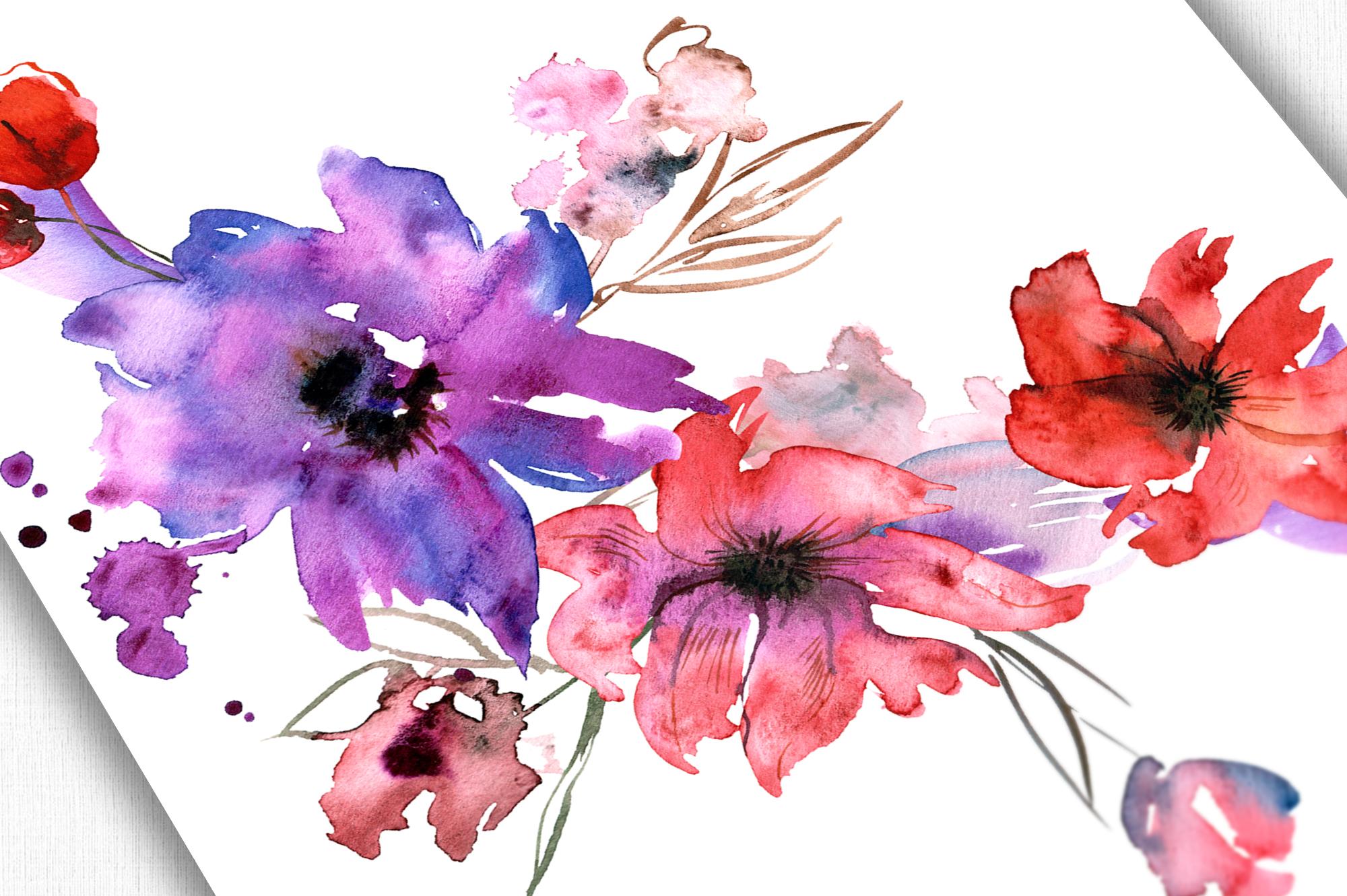 Watercolor Purple Flowers example image 3