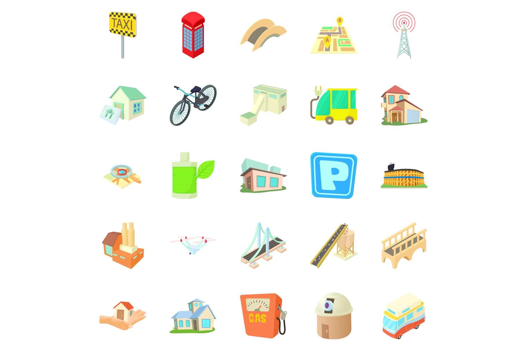 Townish icons set, cartoon style example image 1