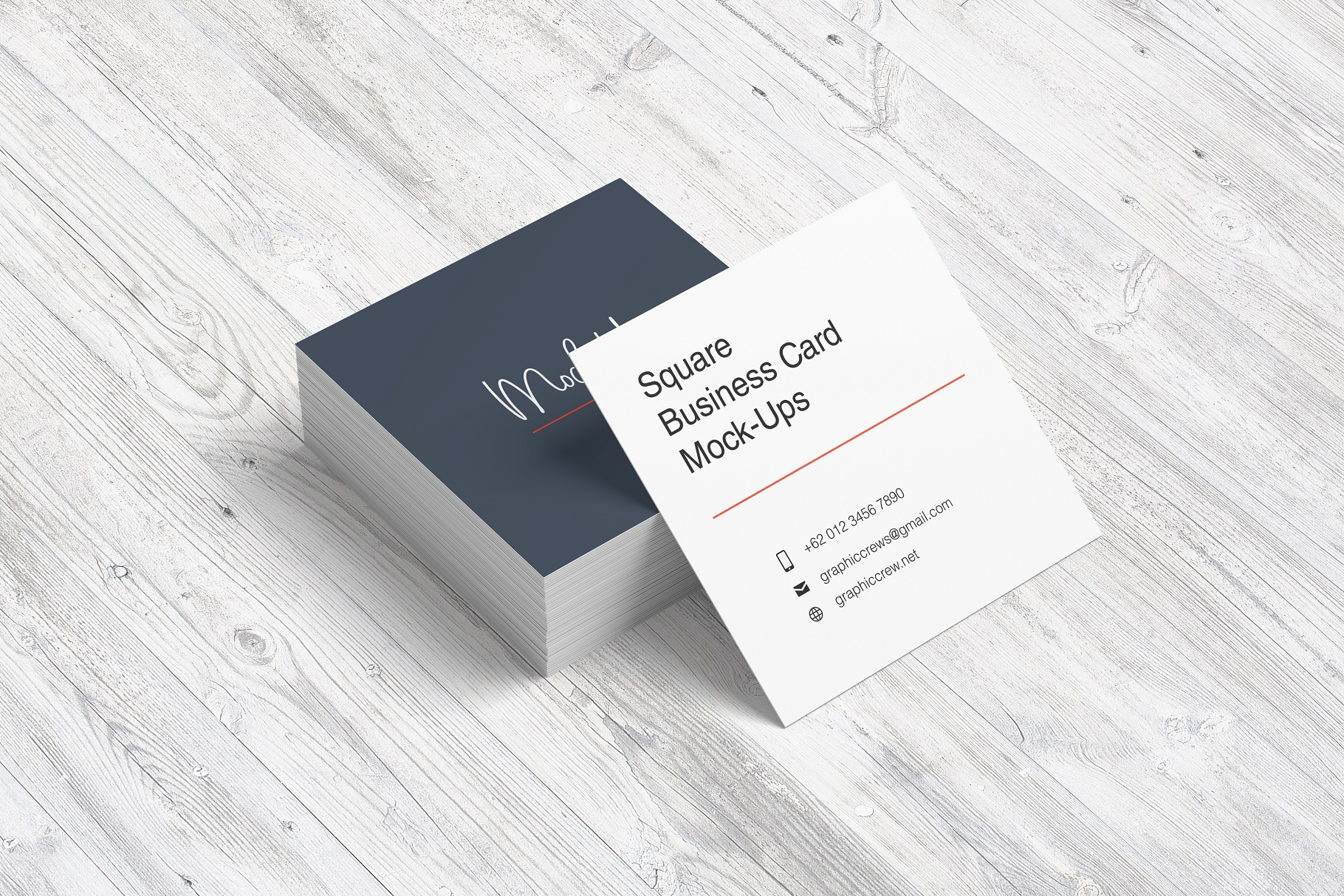 Square Business Card Mockup example image 7