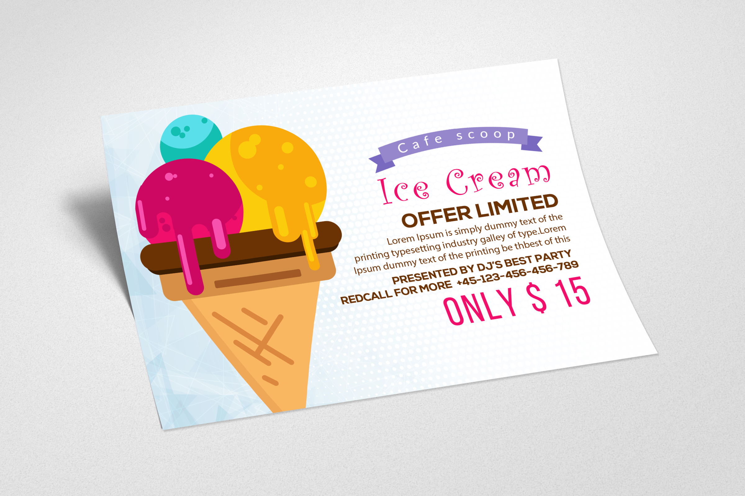Ice cream Discount Card Template example image 2