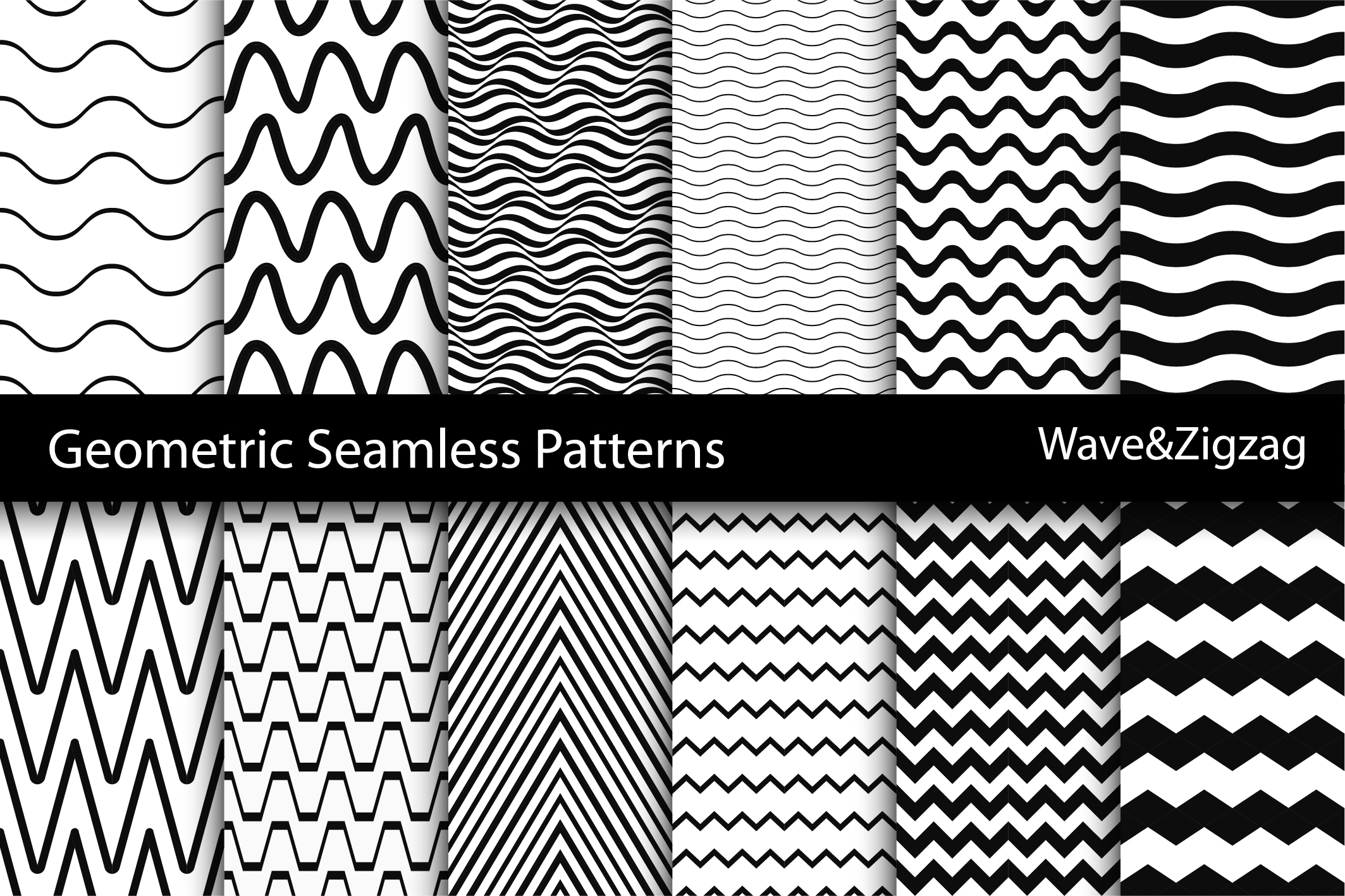 Wave&Zigzag seamless patterns. B&W. example image 1