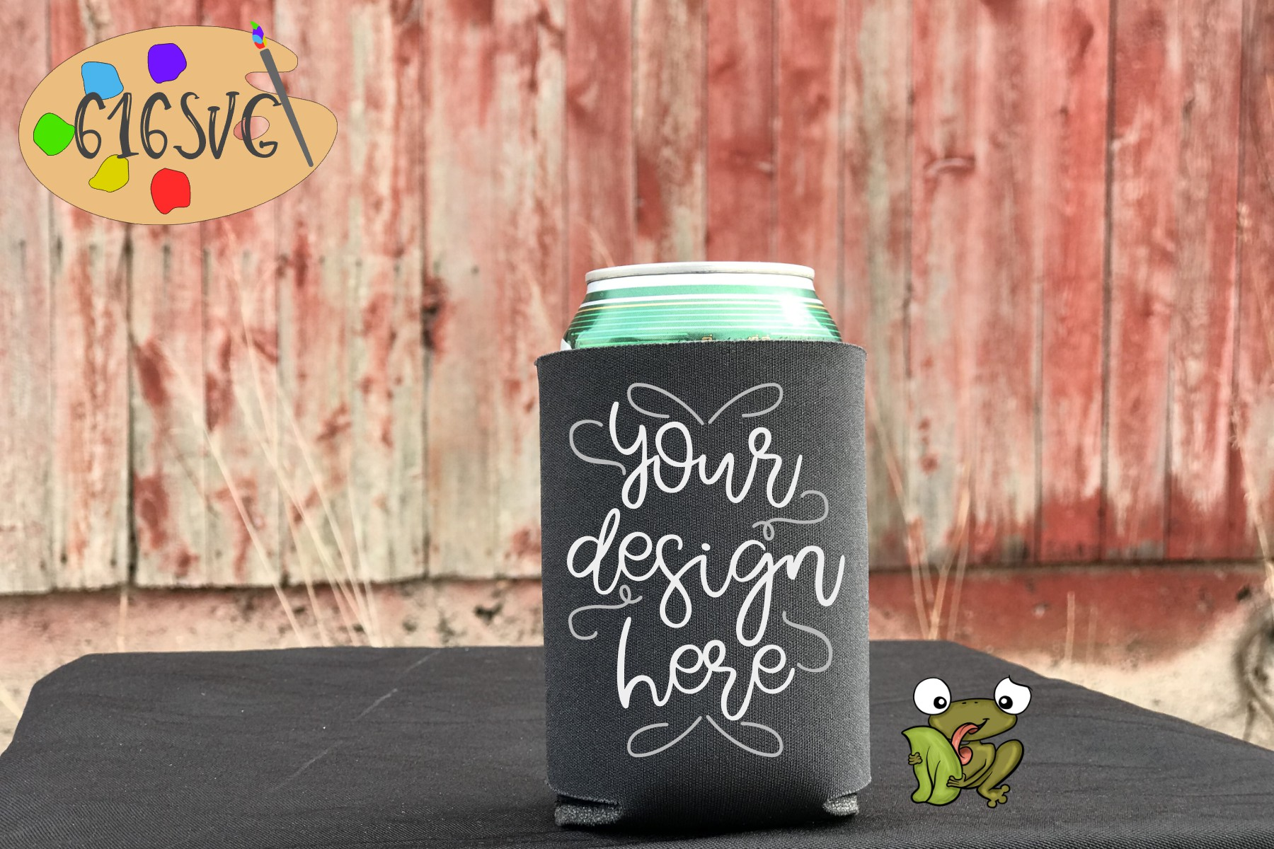 Charcoal Can Cooler Mockup example image 2