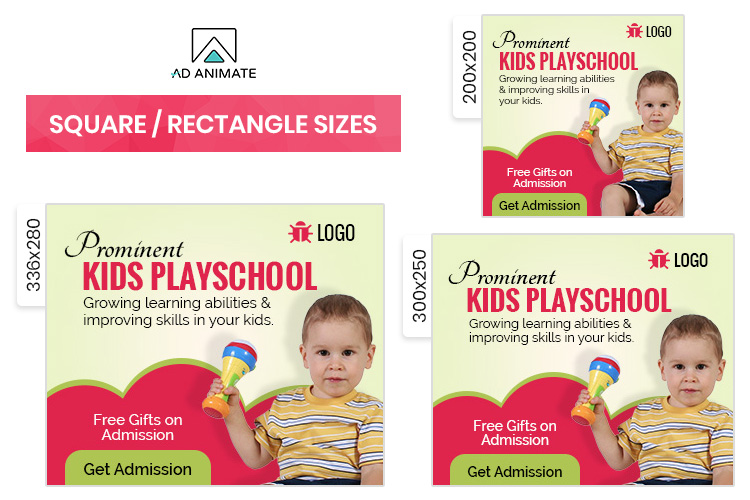 Kids Playschool Animated Ad Banner Template - EI002 example image 2