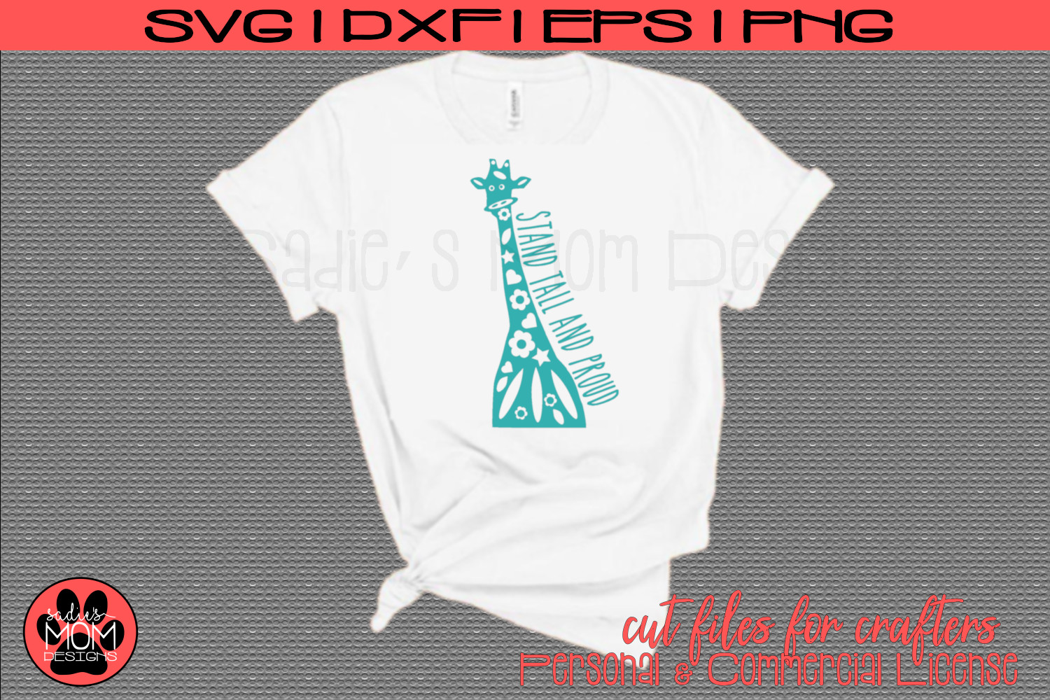Doodle Giraffe - Stand Tall and Proud   SVG Cut File example image 1