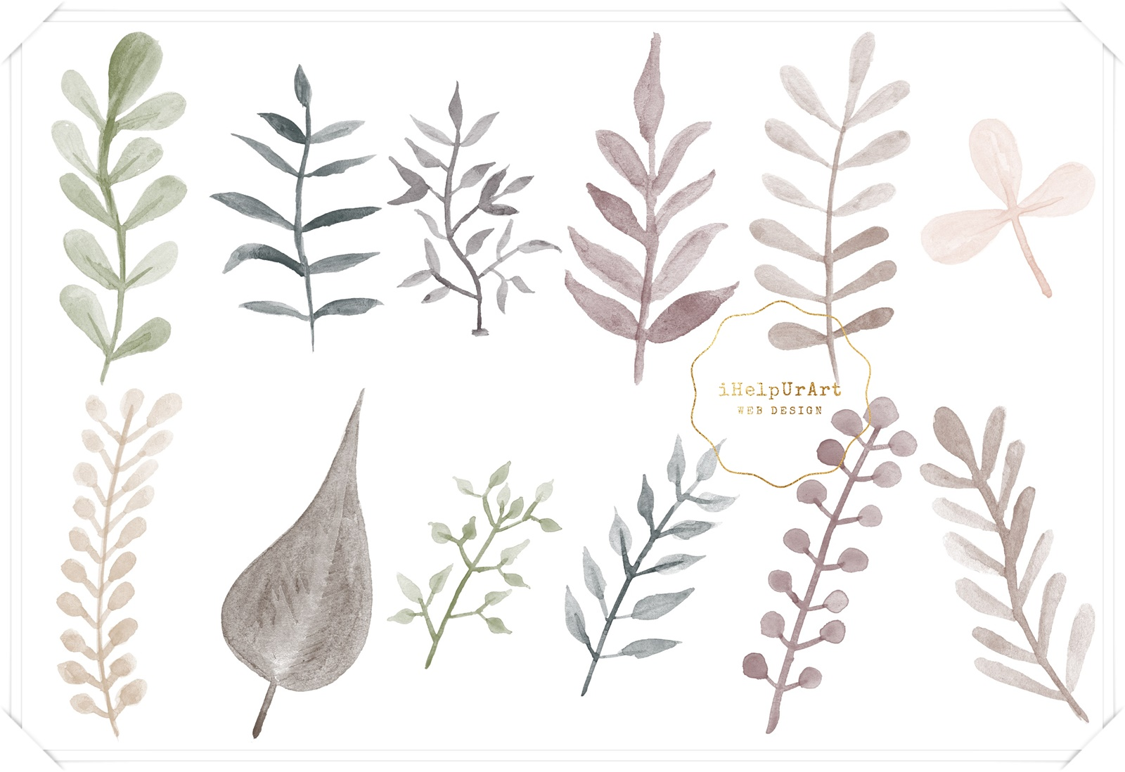 Watercolor and Copper Botanical Cip Art example image 3