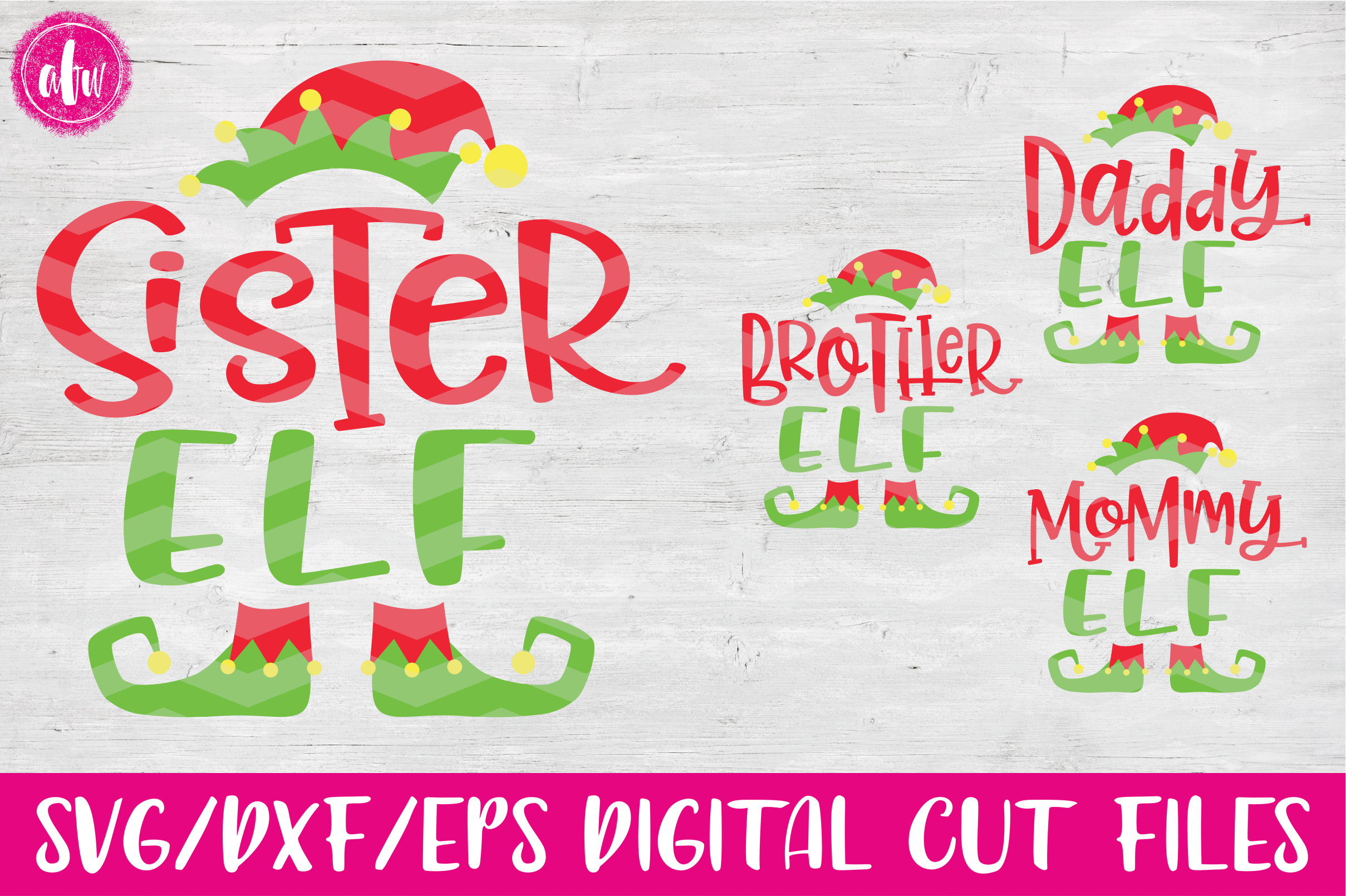 Elf Family Bundle - SVG, DXF, EPS Cut Files example image 1
