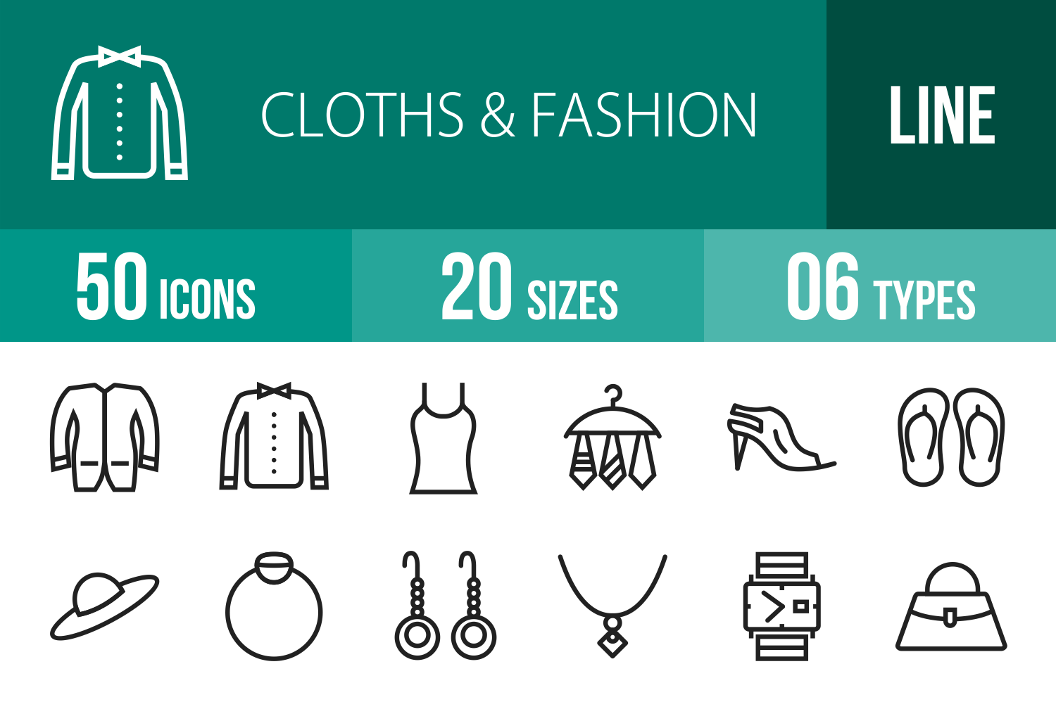 50 Clothes & Fashion Line Icons example image 1