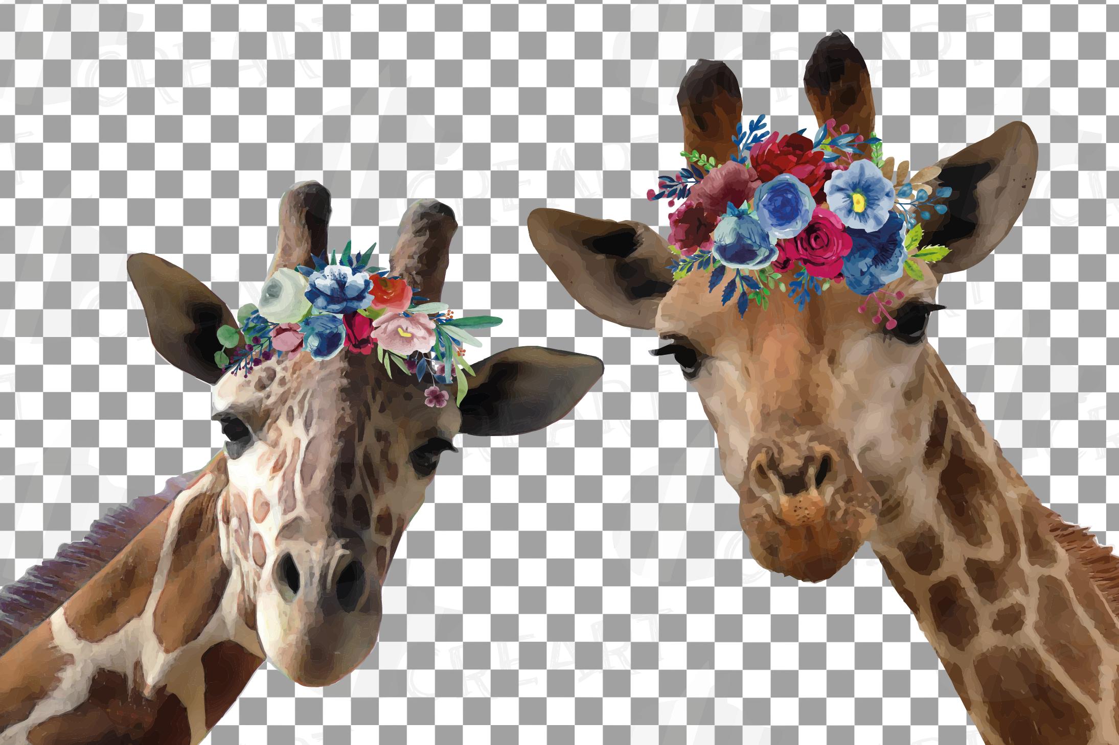 Floral crown giraffe animal wall art. Watercolour giraffe. example image 2