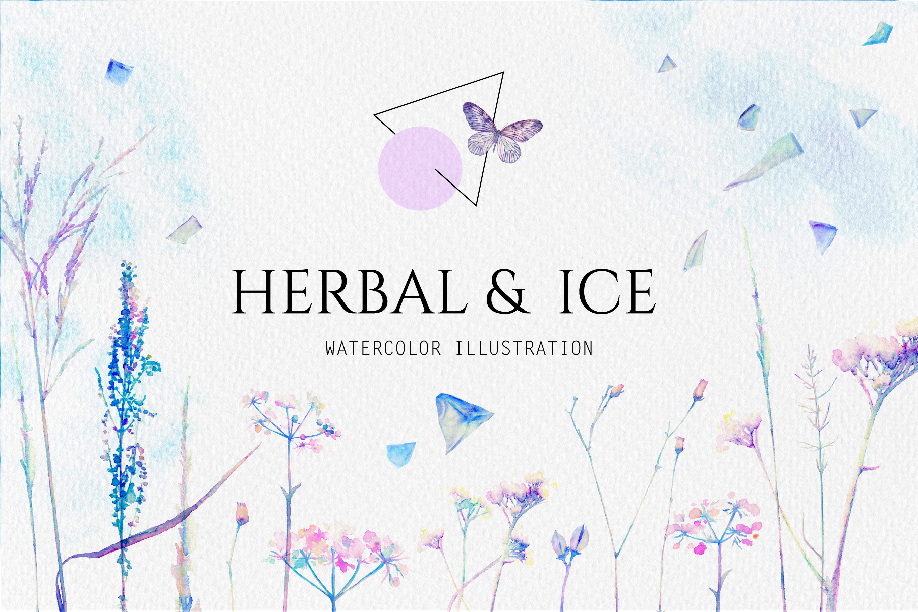 Watercolor floral design collection, herbal and ice example image 1