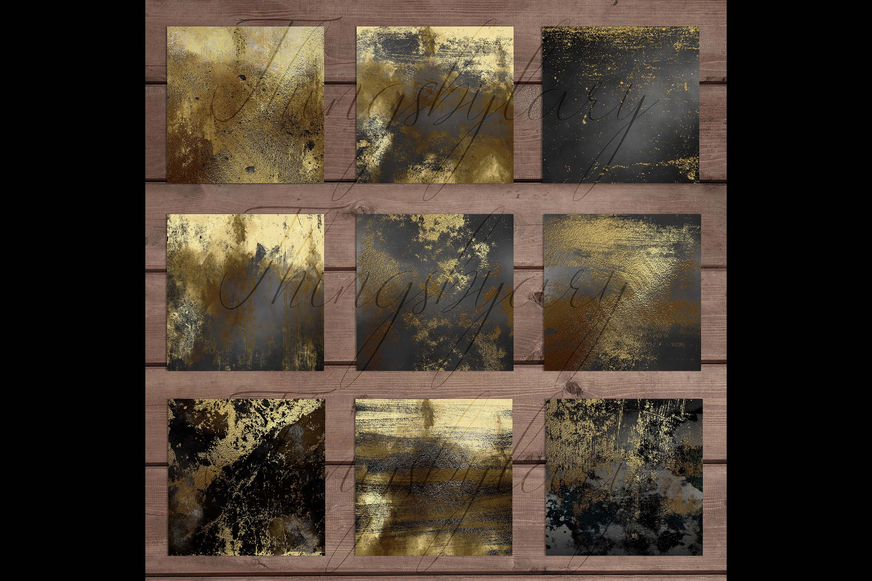 16 Distressed Metallic Gold Foil and Black Digital Papers example image 9