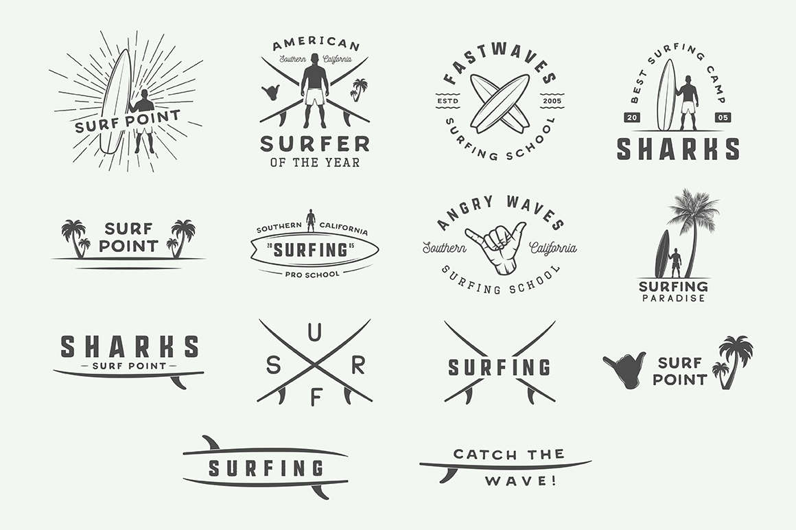 Vintage Surfing Emblems Bundle example image 13