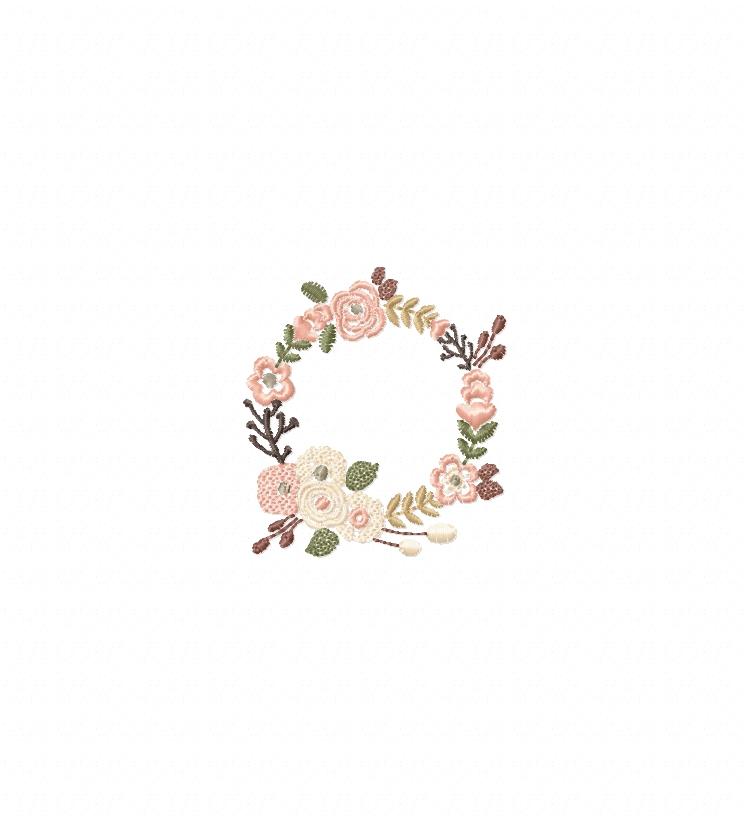 Floral Wreath Font Frame Monogram Design - EMBROIDERY DESIGN FILE - Instant download - Vp3 Hus Dst Exp Jef Pes formats 5 sizes 3,4,5,6,7inch example image 3