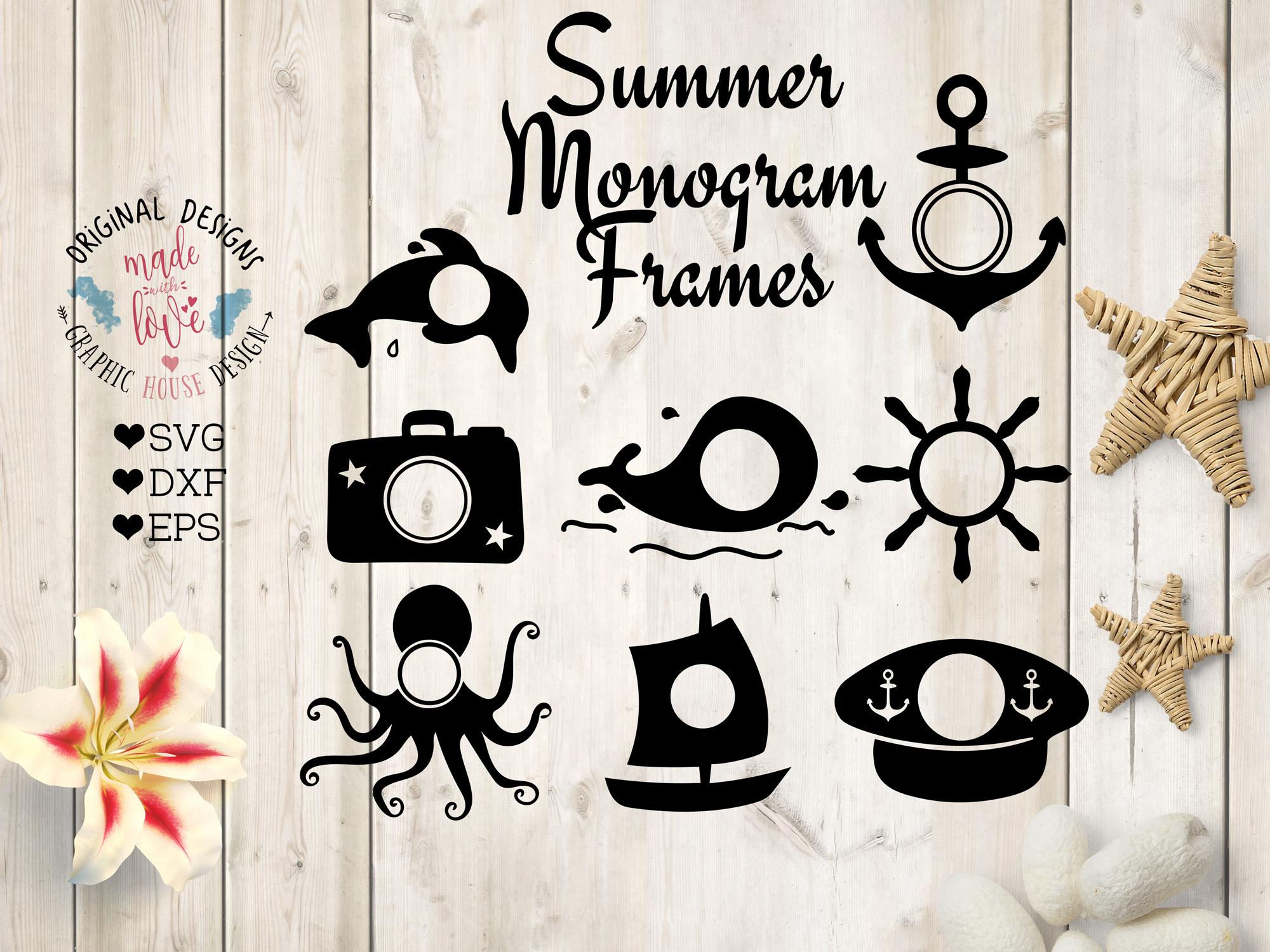 Summer Monogram Frames Cut Files SVG, DXF, EPS example image 1