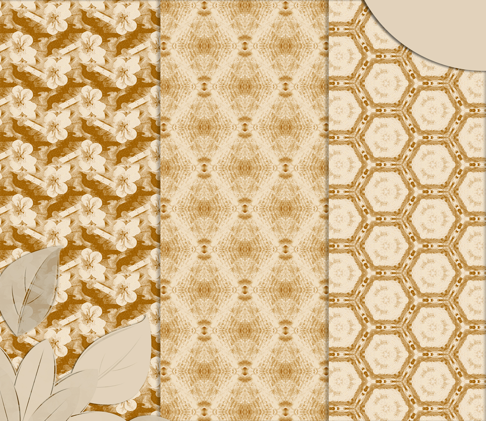 Ancient white-beige floral and geometrical Scrapbook Paper. example image 4