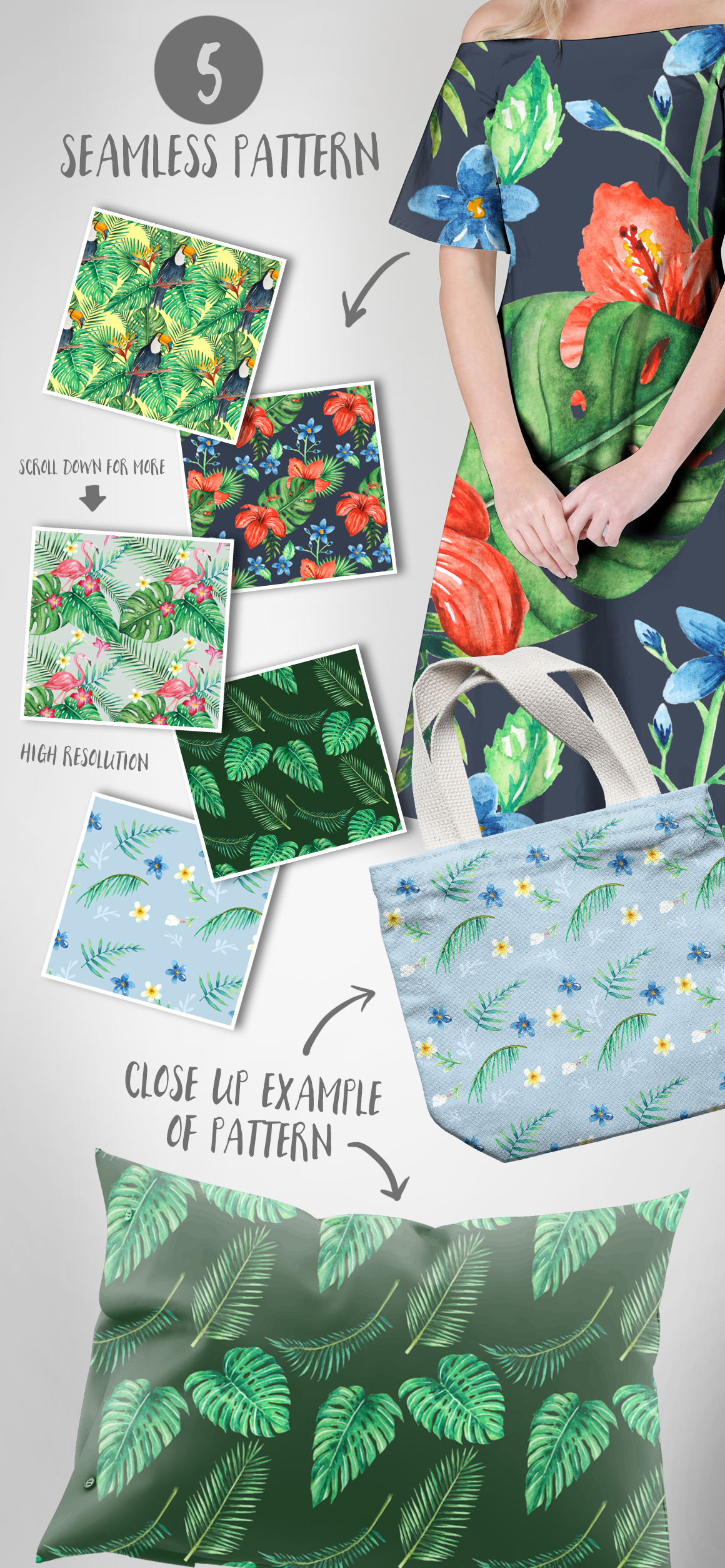 TROPICAL Watercolor clip art pack example image 4