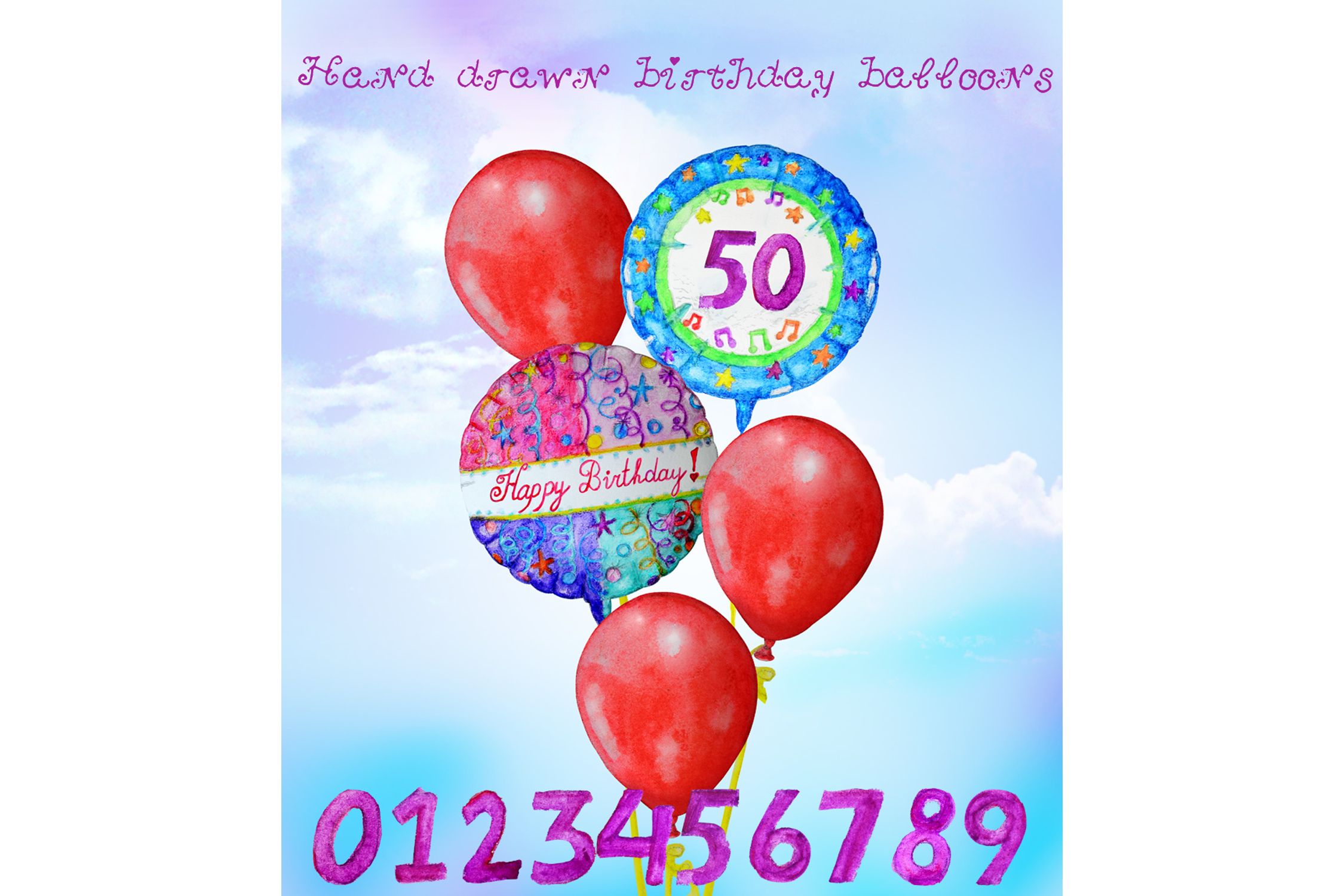 Hand Drawn Birthday Balloons example image 2