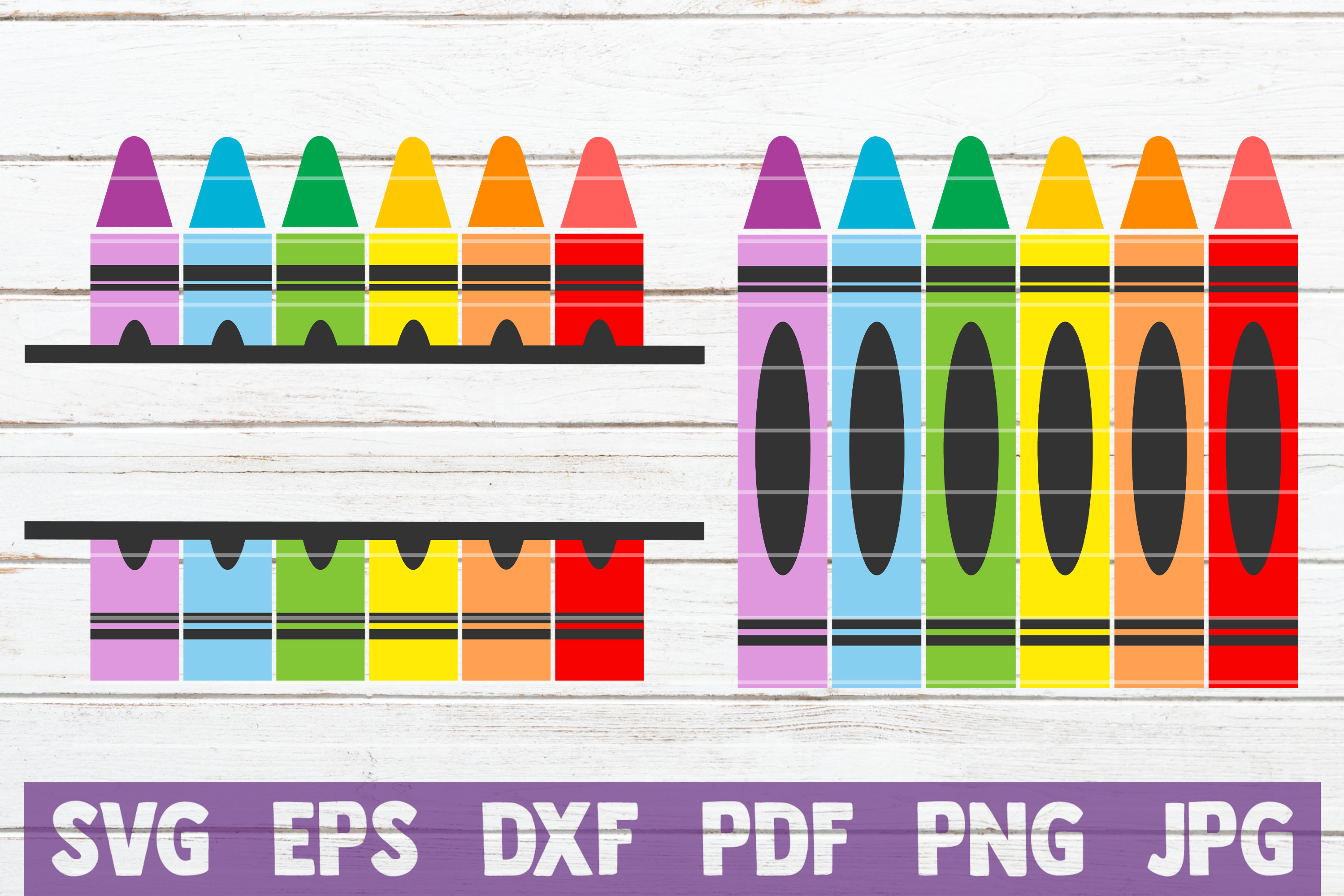 Crayons Split Monogram SVG Cut File | commercial use example image 1
