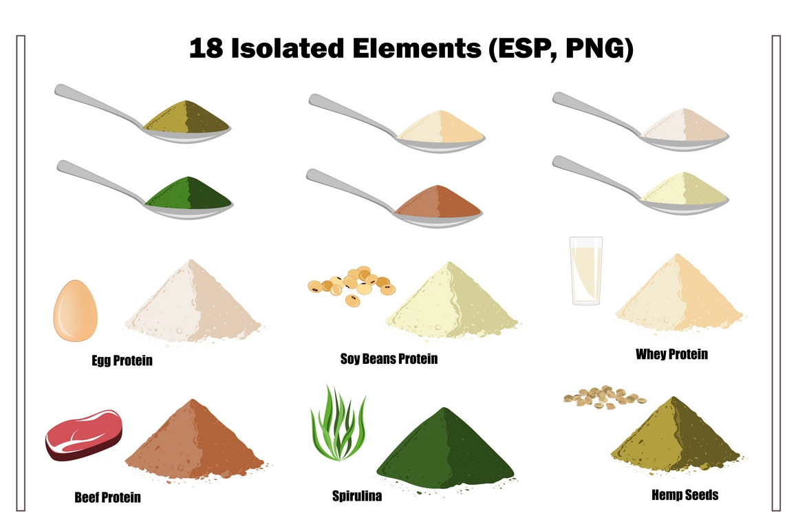 Healthy Proteins. Vector Collection example image 3