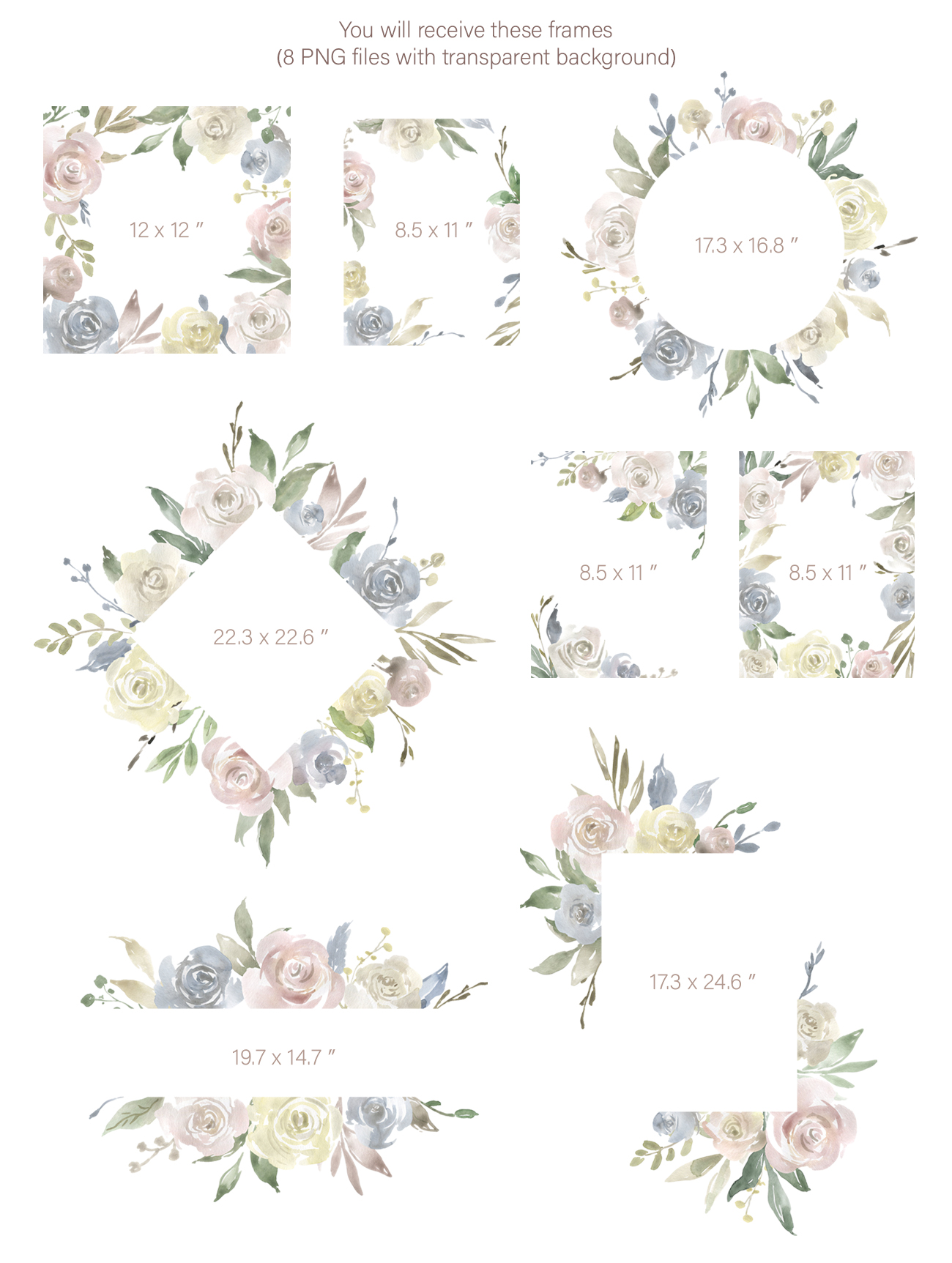 Watercolor Flowers, Bouquets, Frames Light PNG Clipart example image 4