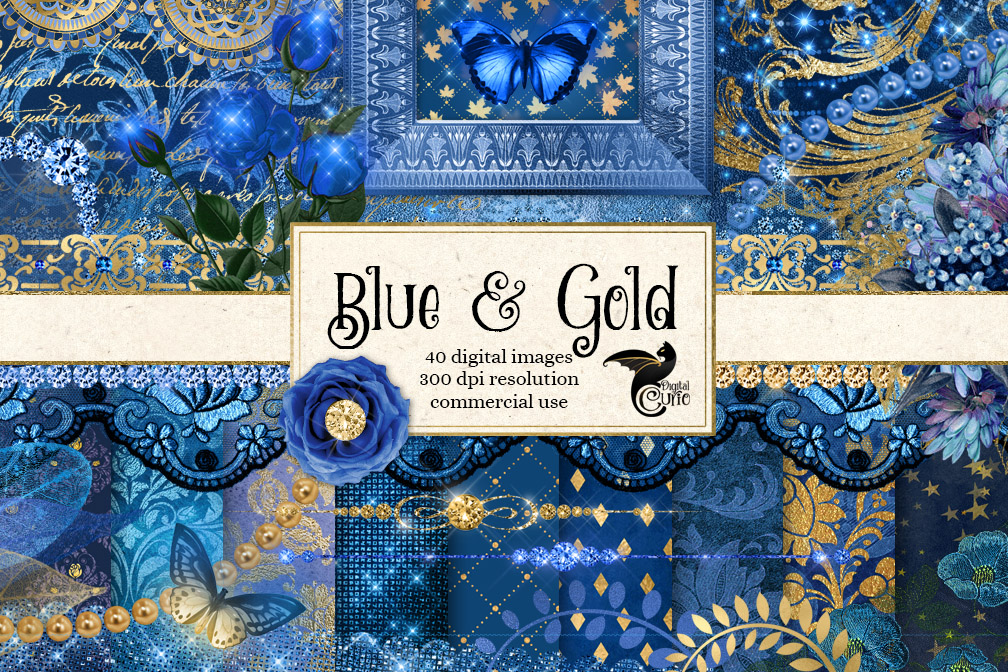 Blue and Gold Digital Scrapbooking Kit example image 1