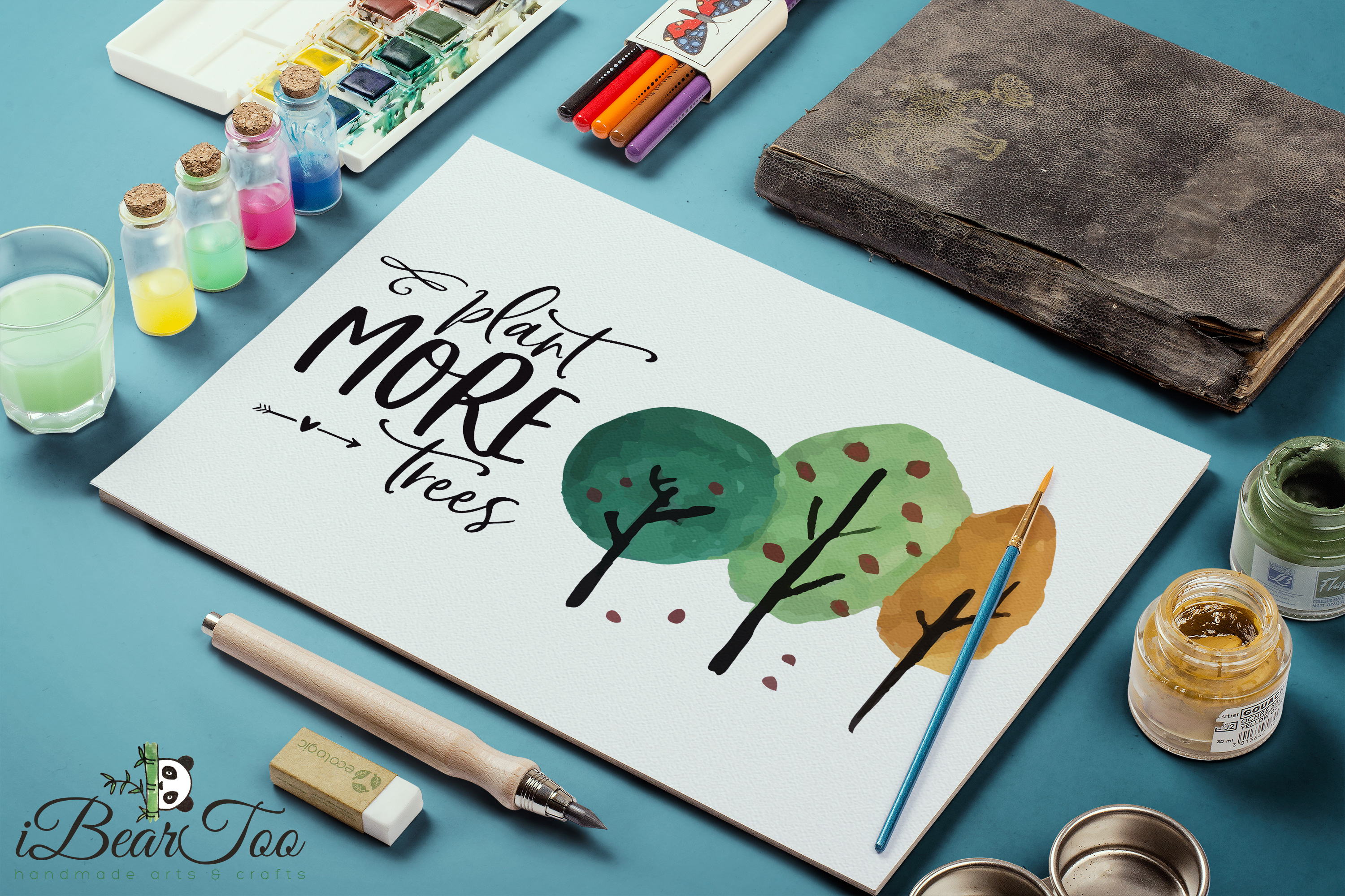 Plant More Trees SVG Clipart Watercolor, Vector Sketch example image 9