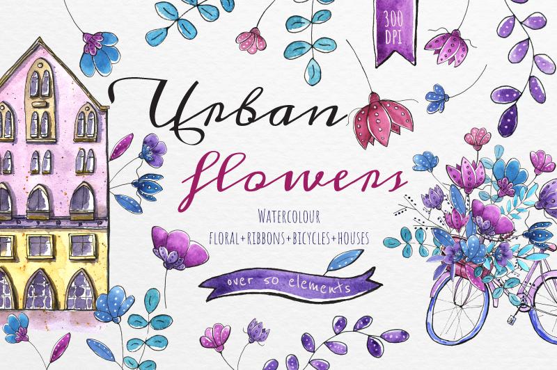 Urban flowers - Watercolor set example image 1