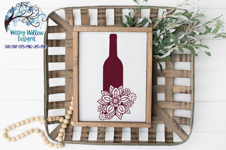 Floral Wine Bottle SVG   Wine SVG Cut File example image 2