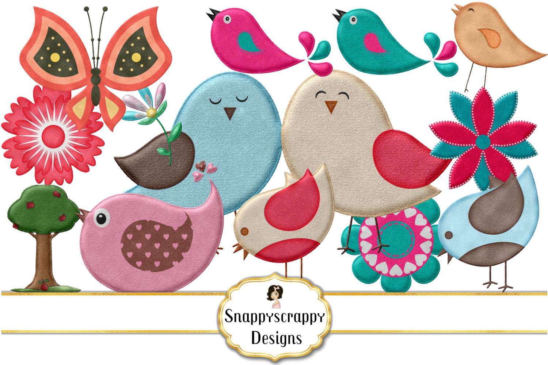 Cute Felt Bird Mix Clipart example image 1