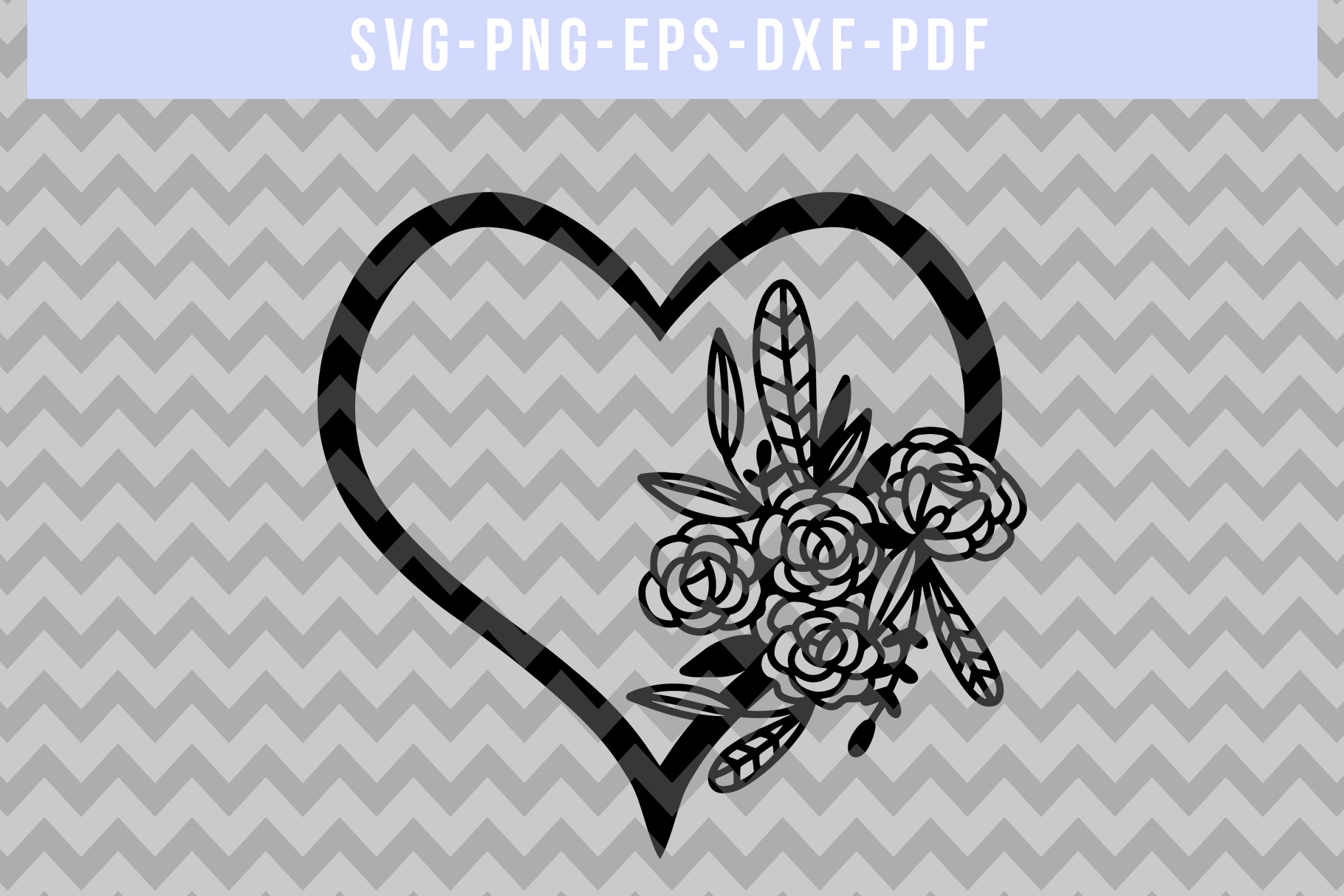 Floral Heart Papercut Template, Wedding Flower Scrapbook SVG example image 4