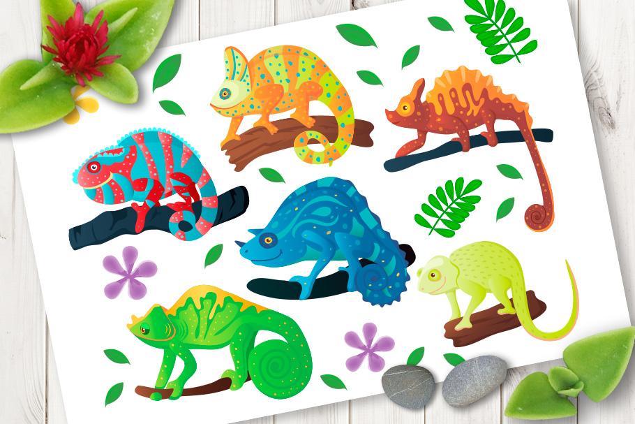 Chameleon iguana cartoon vector set example image 1