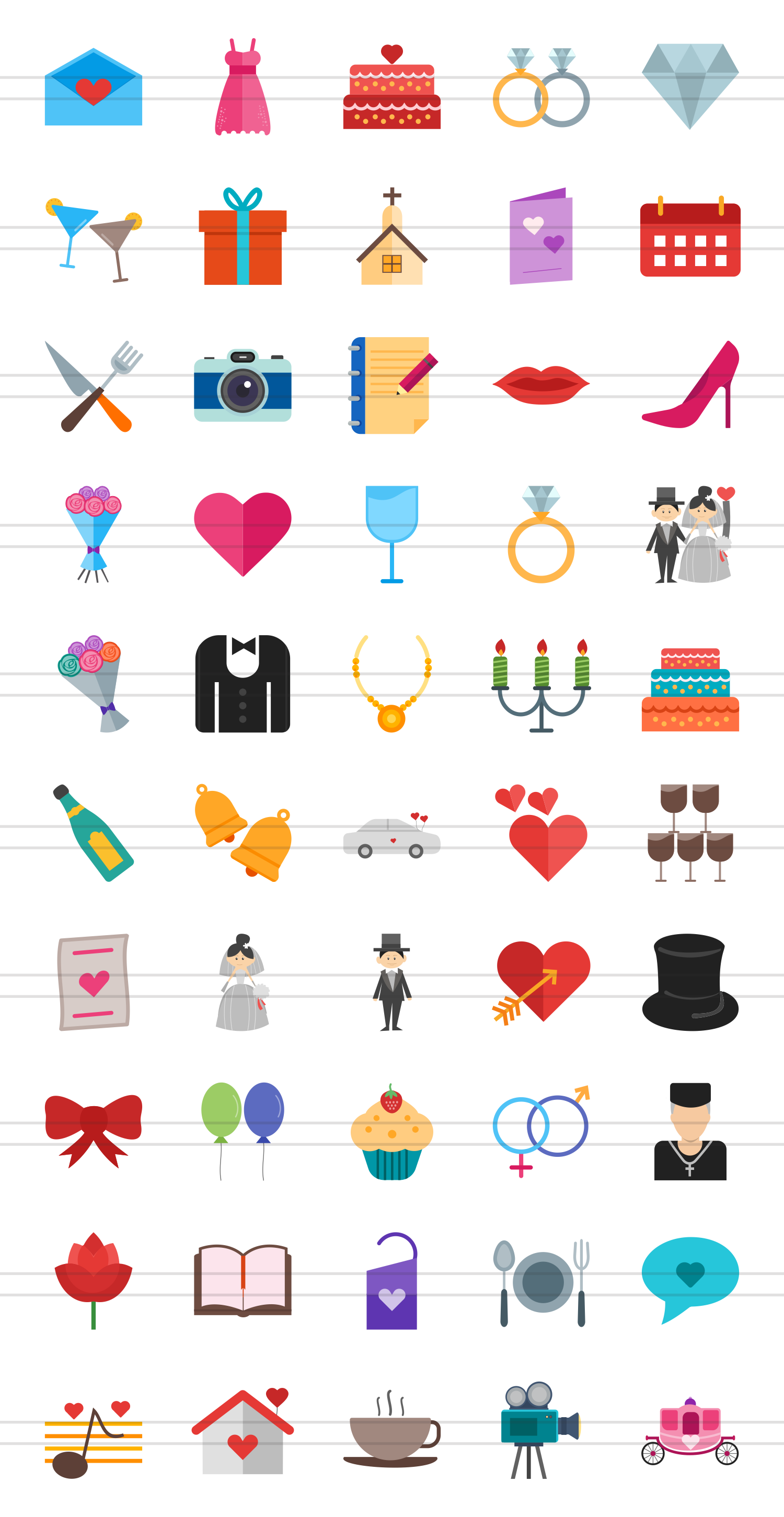 50 Wedding Flat Multicolor Icons example image 2