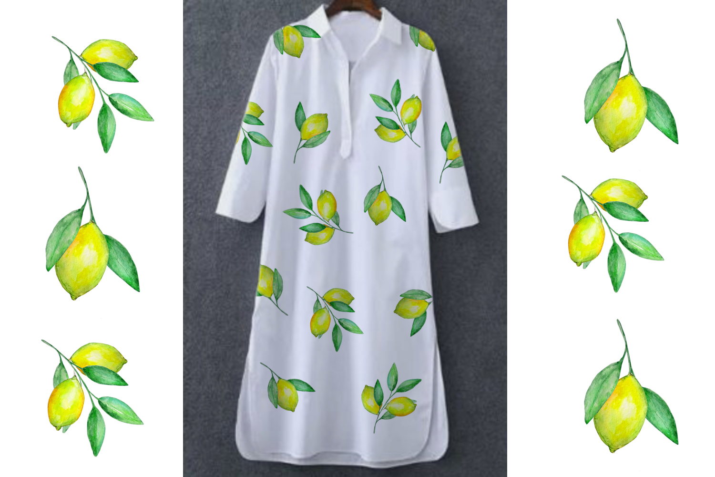 Watercolor Lemon Clipart, Tropical Fruit example image 6