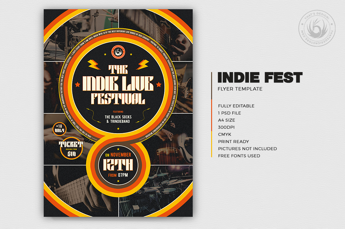 Indie Fest Flyer Template V6 example image 2