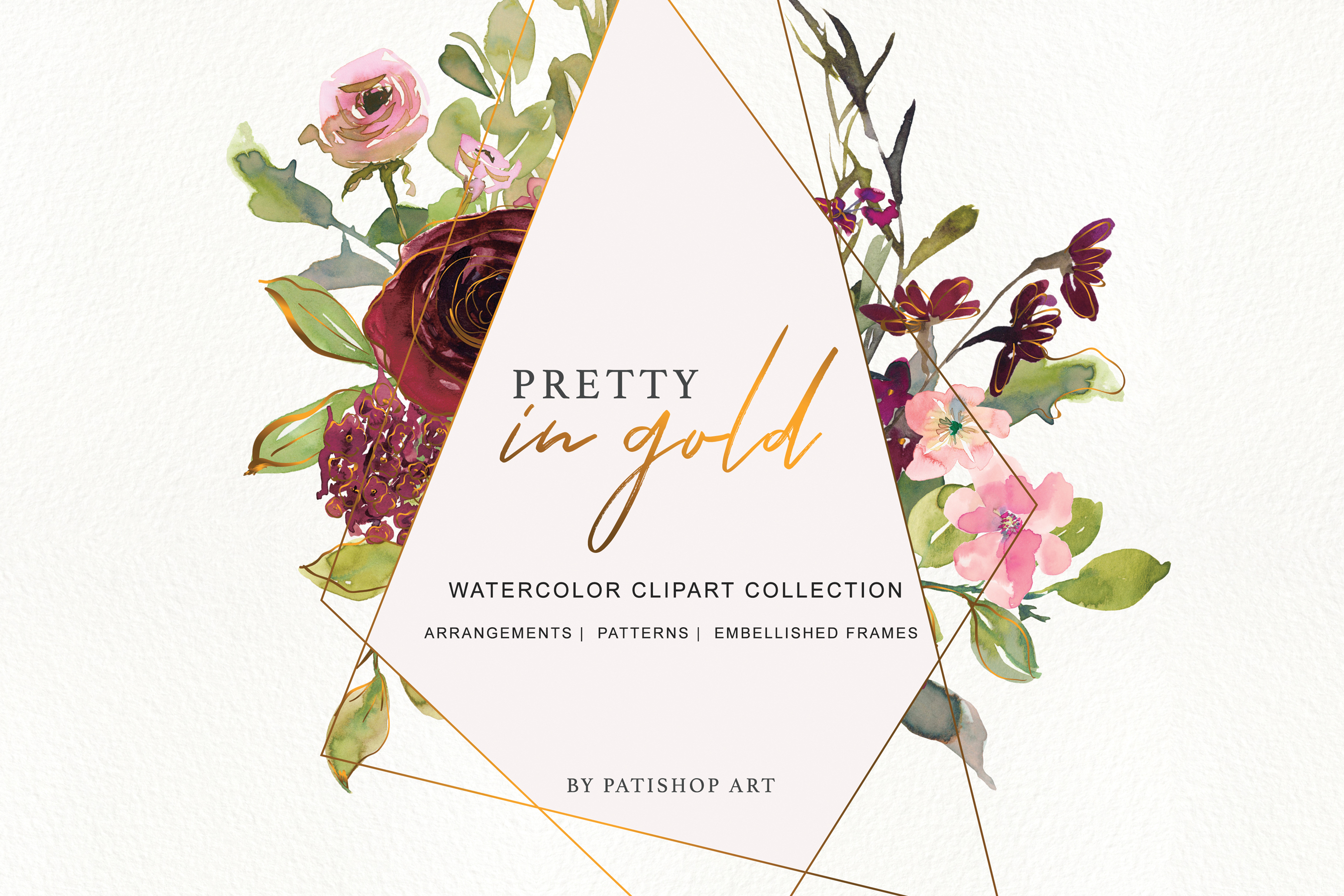 Watercolor Burgundy Blush and Gold Floral Bouquet Clipart example image 6