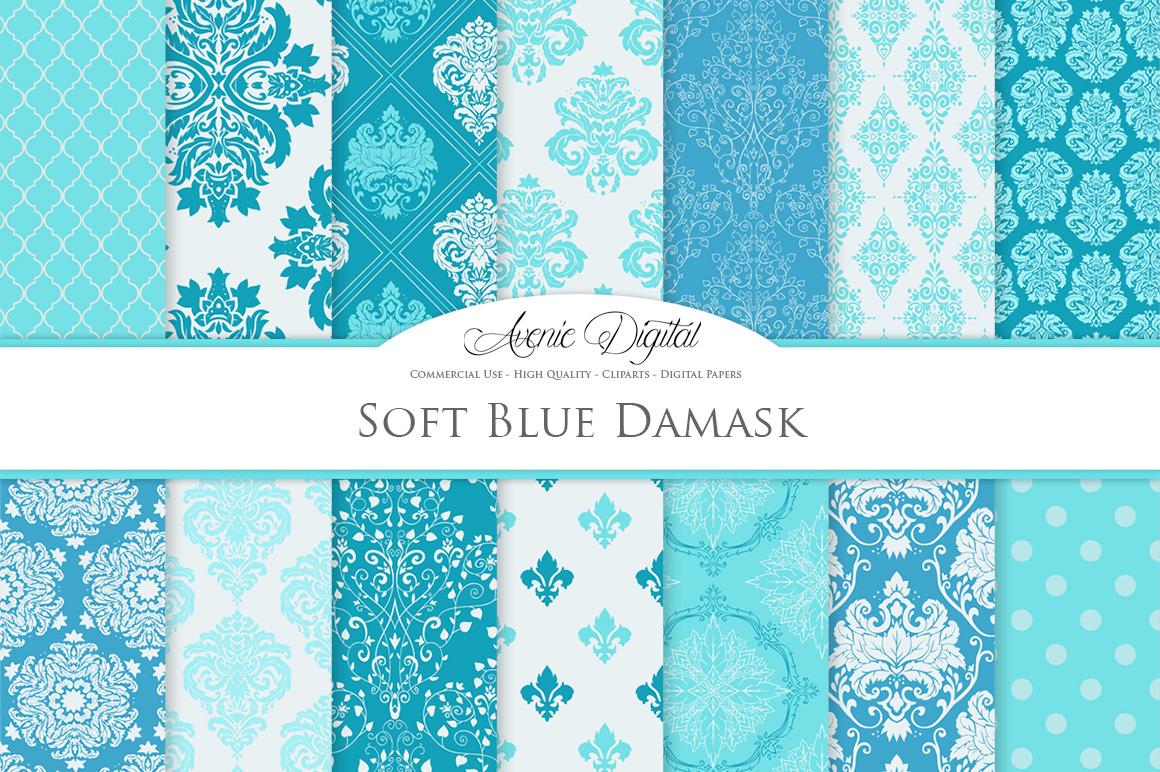 28 Soft Blue Damask Patterns - Seamless Digital Papers Bundle example image 2