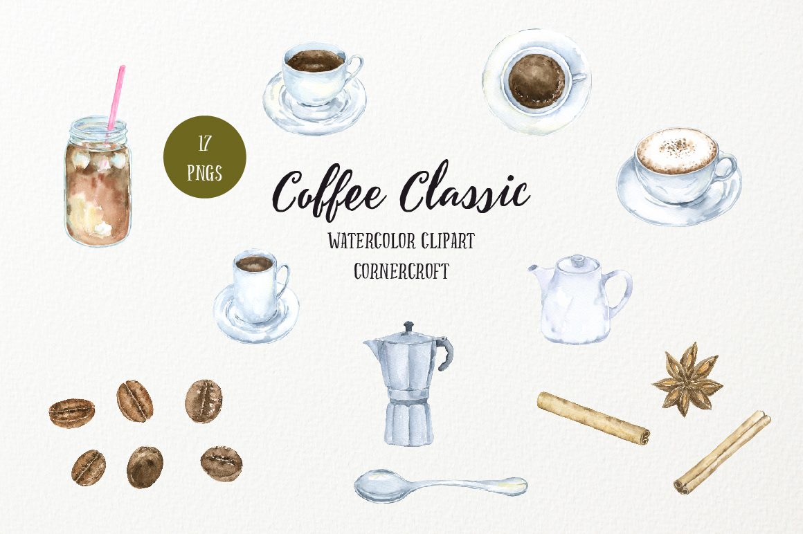 Watercolor Coffee Classic example image 3
