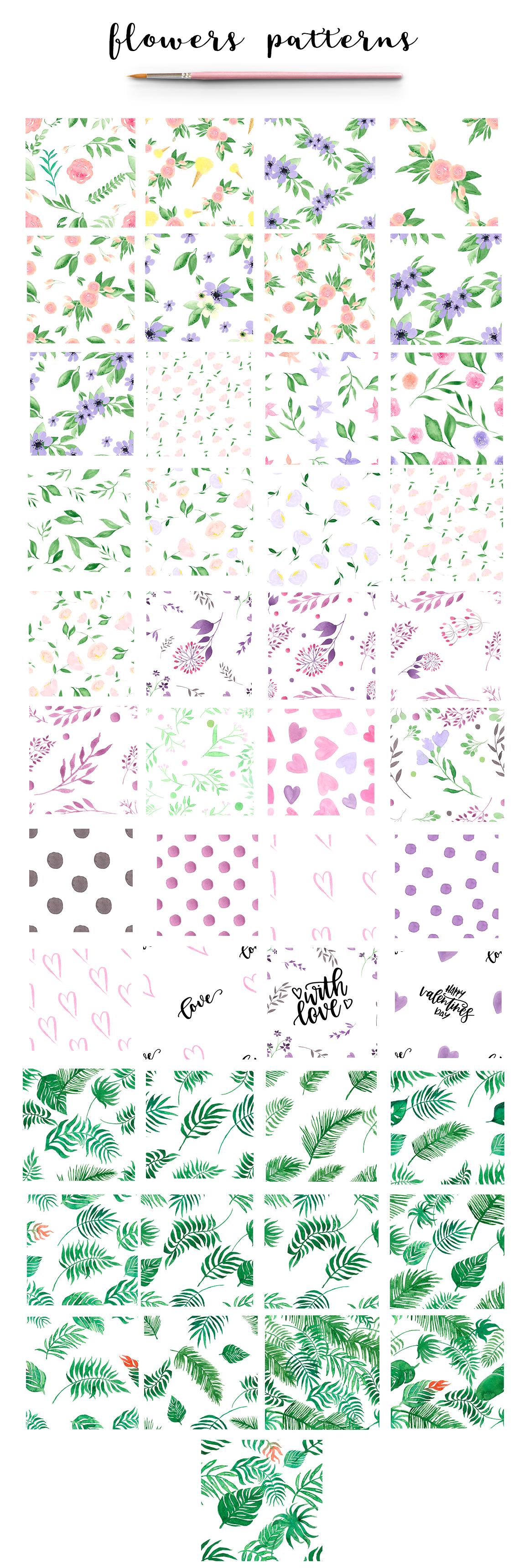 164 Watercolor FLORALS patterns example image 4