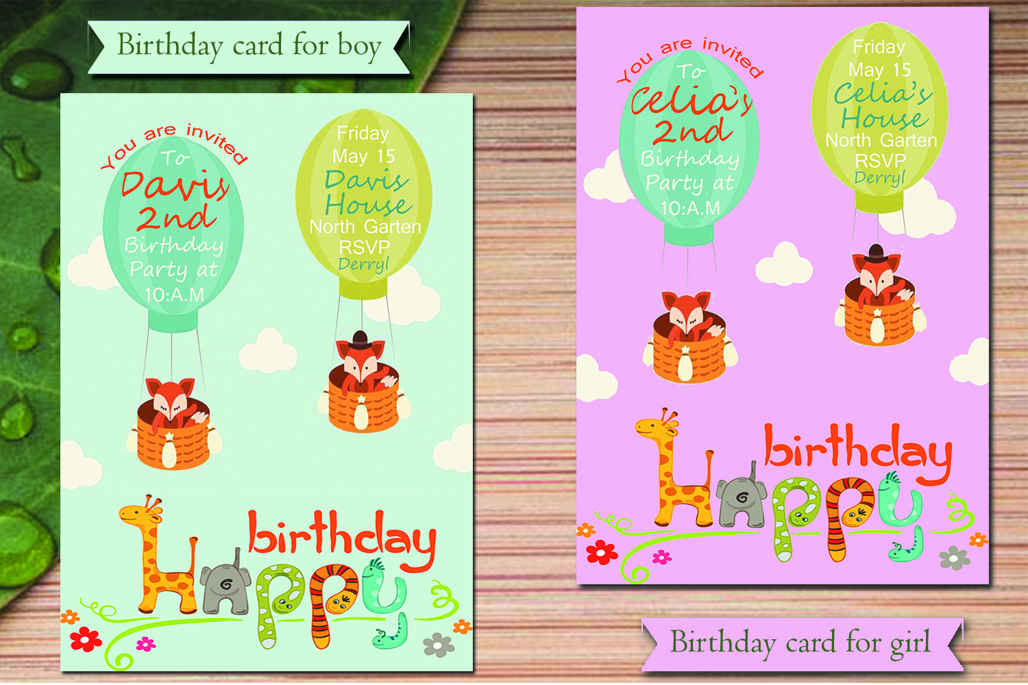 Birthday invitation card in 2 colours  (for boys & girls) example image 1