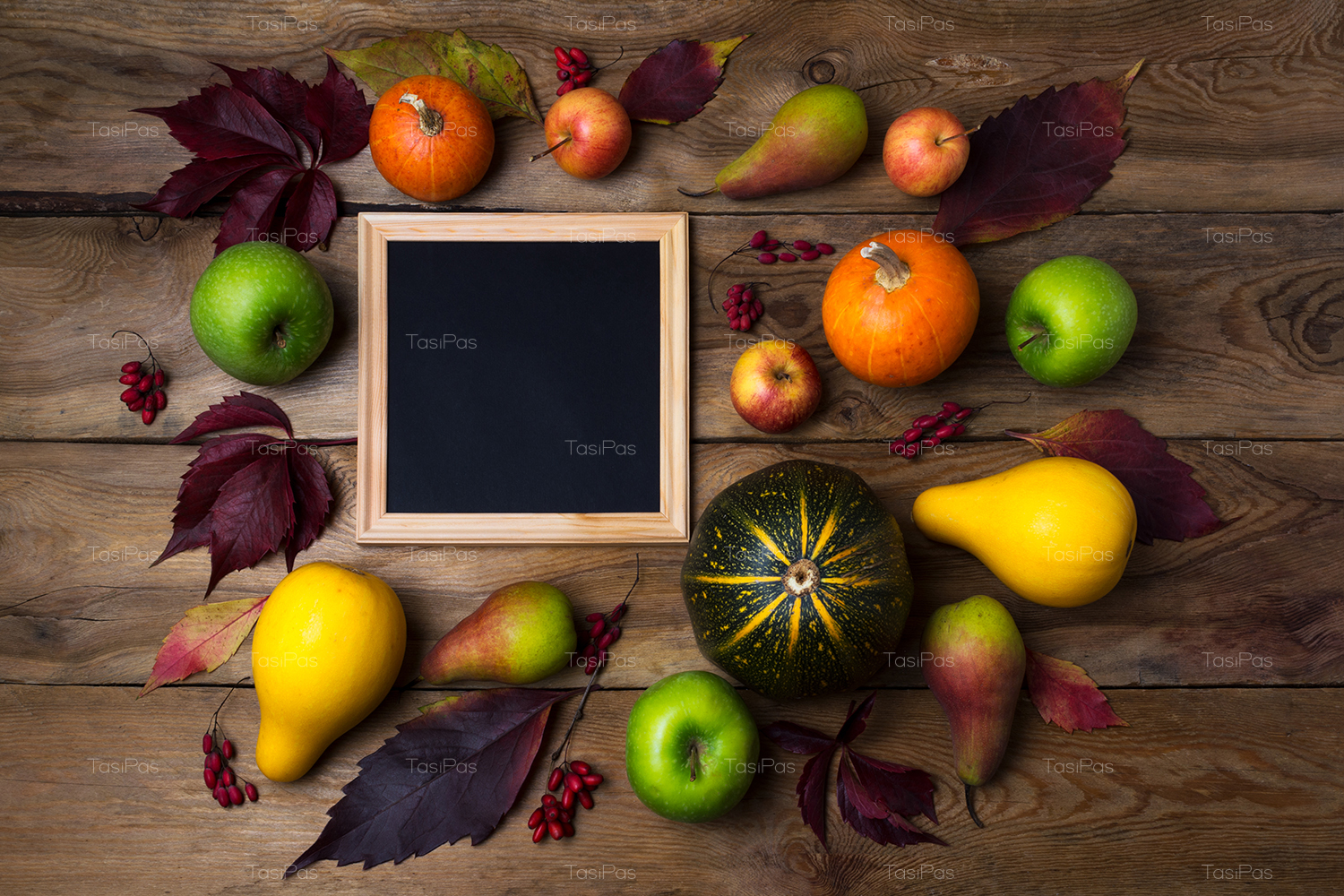Rustic square frame mockup with pumpkins, pears example image 4