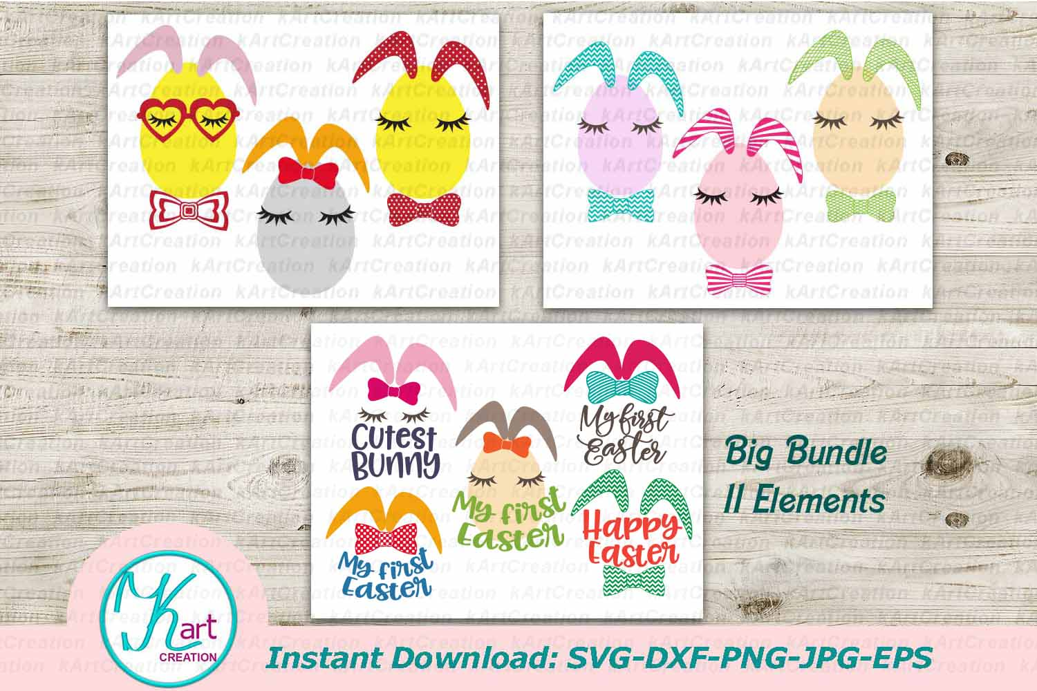 Bunny Ears eggs face bundle svg dxf toddler oneness cut file example image 1