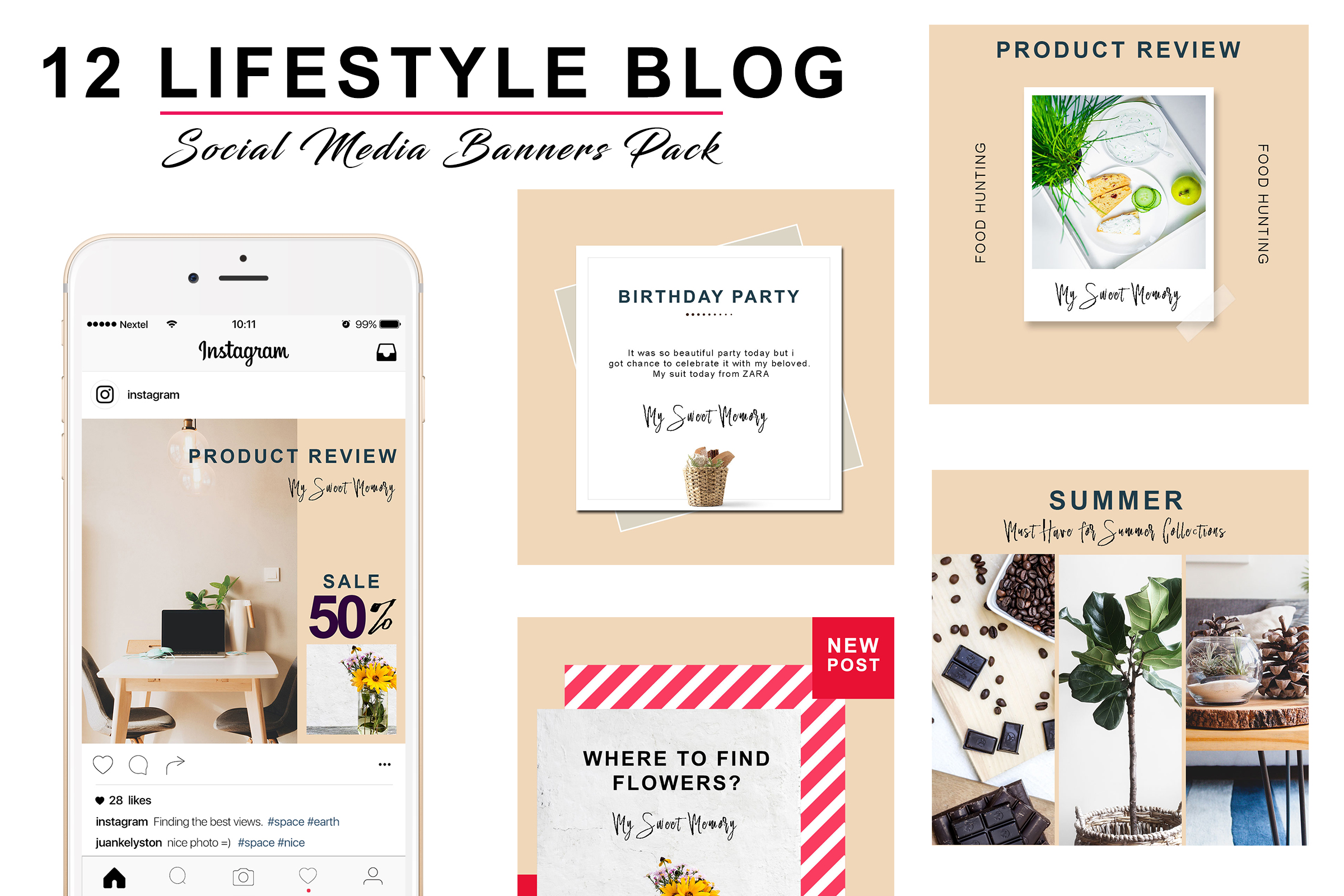 Peach Lifestyle Social Pack example image 1